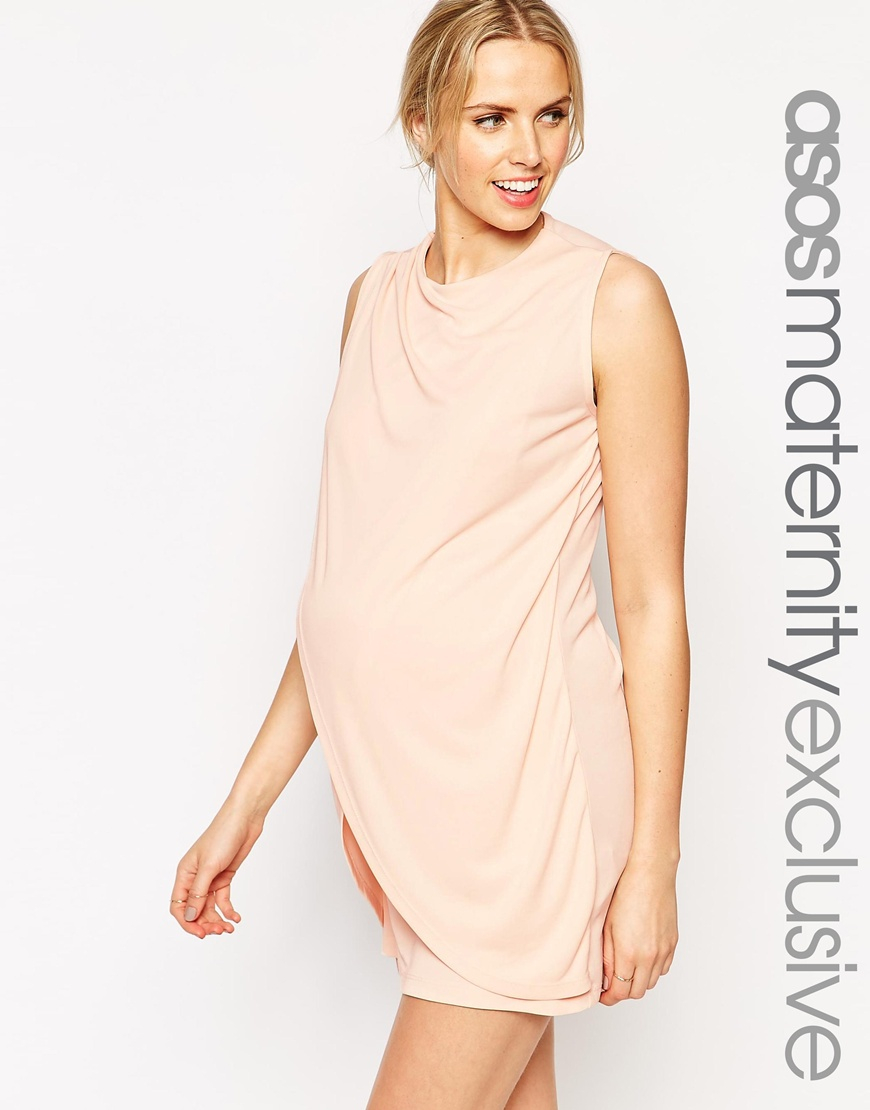 Asos maternity nursing shift dress with wrap over in natural lyst gallery ombrellifo Gallery