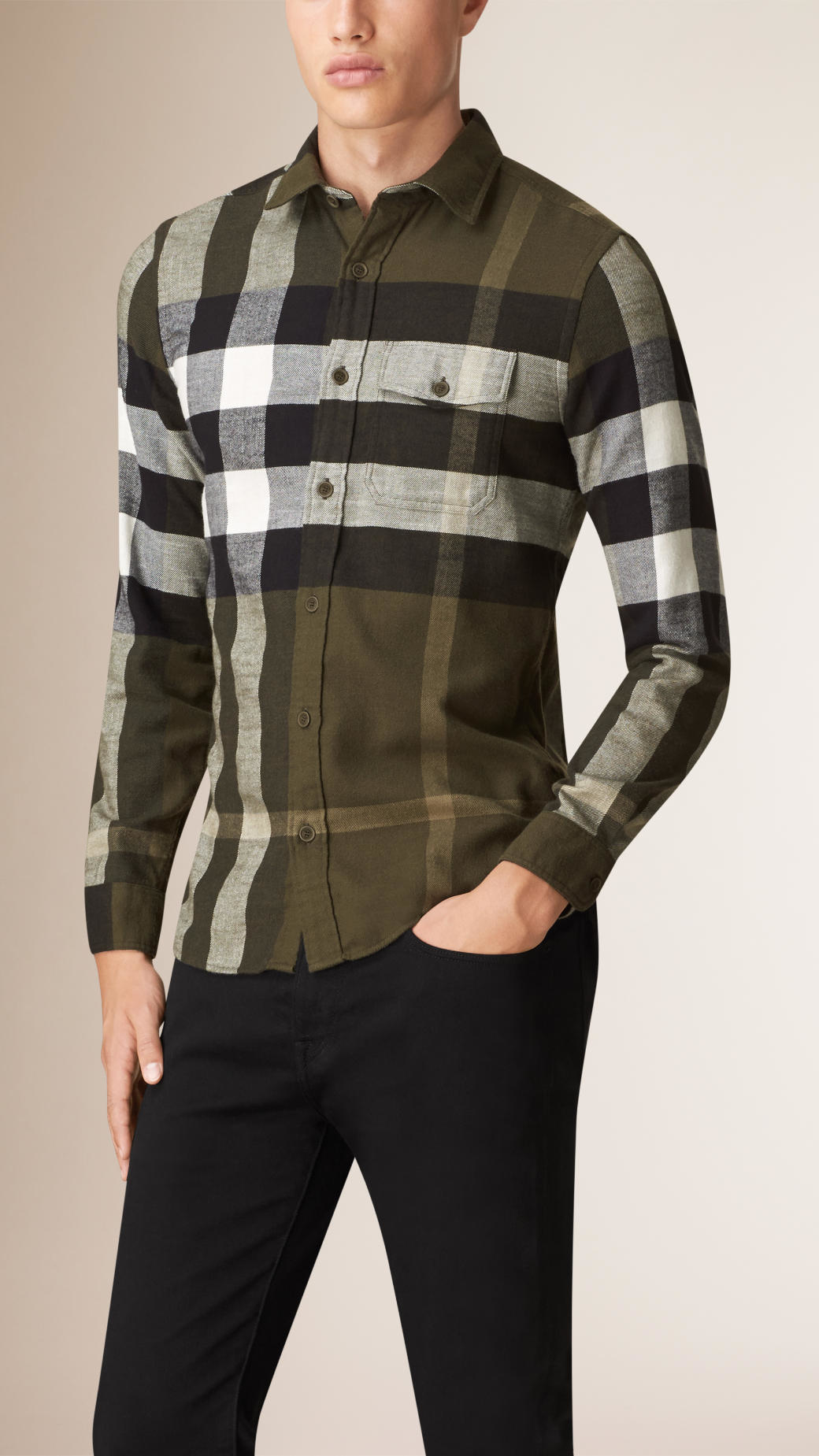 Lyst - Burberry Exploded Check Cotton Flannel Shirt Olive Green in ...