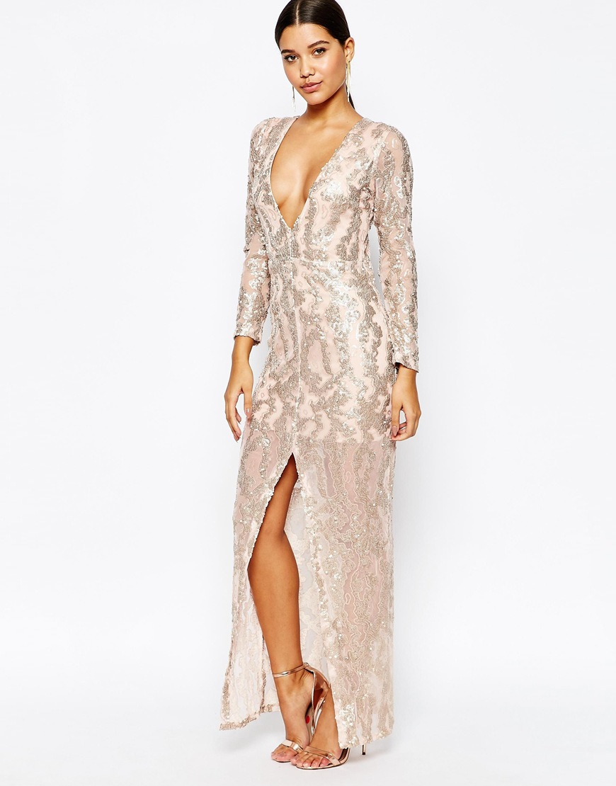 b209b6f6200b0 Lyst - Club L Sequin Maxi Dress With Plunge Back And Long Sleeves in ...