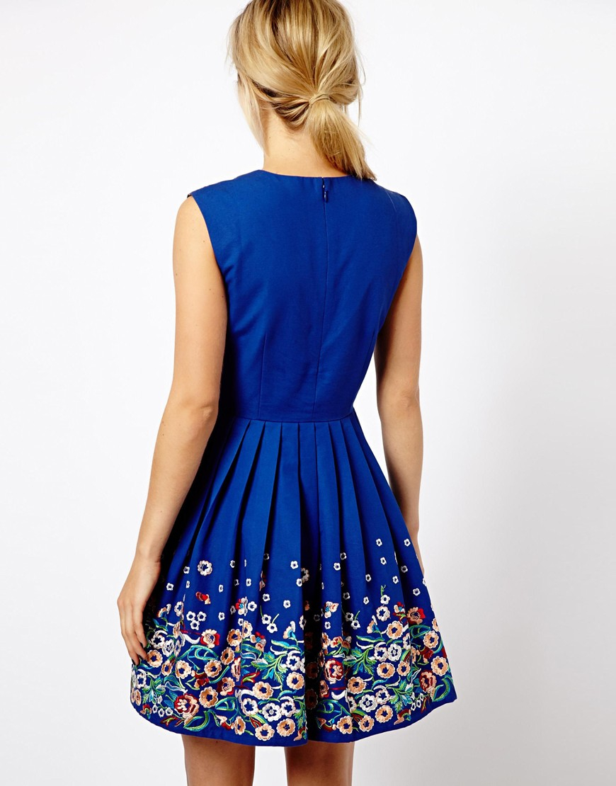 Asos skater dress with floral embroidery in blue lyst