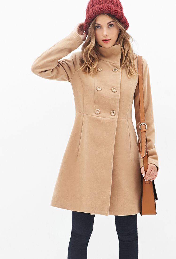 Stand Collar Dress Designs : Lyst forever stand collar swing coat in natural