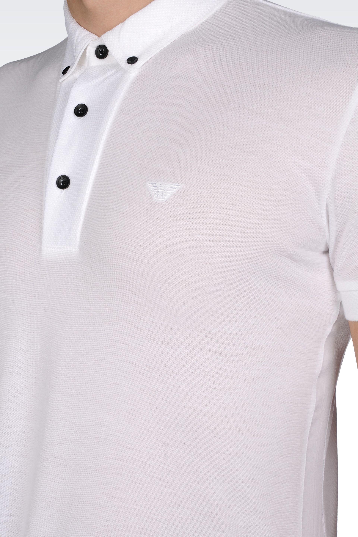 Emporio armani Piquet Cotton Polo Shirt with Buttondown Collar in ...