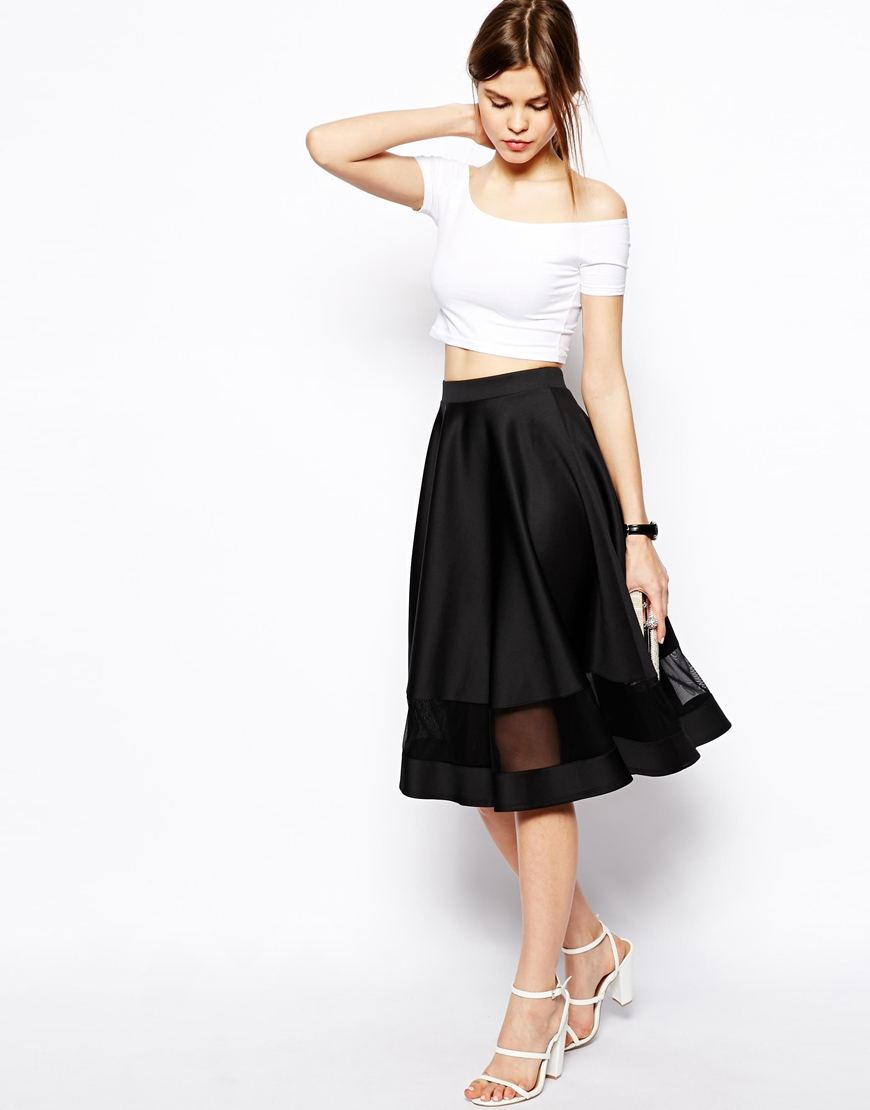 Asos Midi Skirt In Scuba With Sheer Panel in Black | Lyst