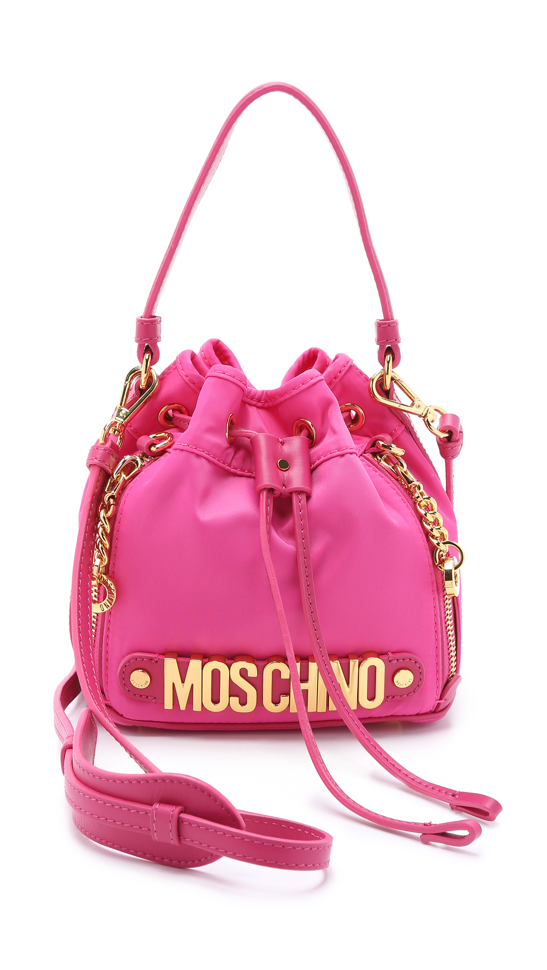 lyst moschino nylon bucket bag pink in pink. Black Bedroom Furniture Sets. Home Design Ideas