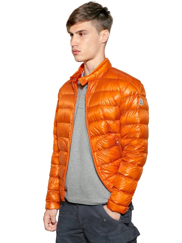 Moncler Acorus Nylon Light Weight Down Jacket In Orange