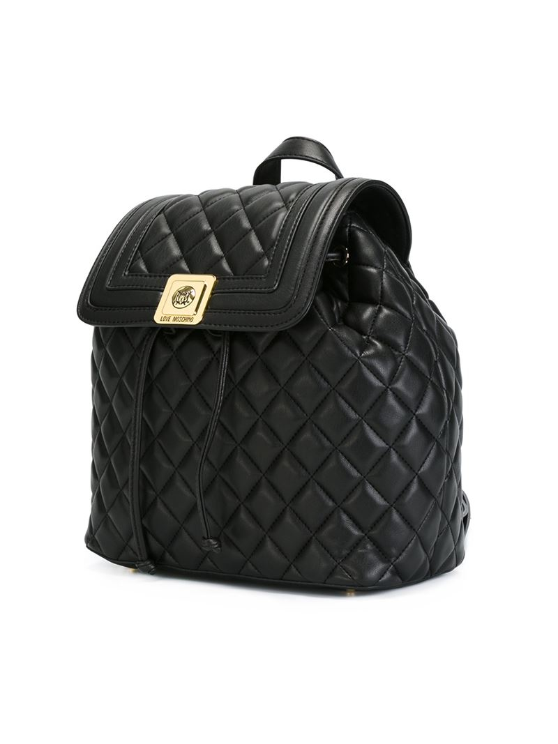 Love Moschino Quilted Backpack In Black Lyst