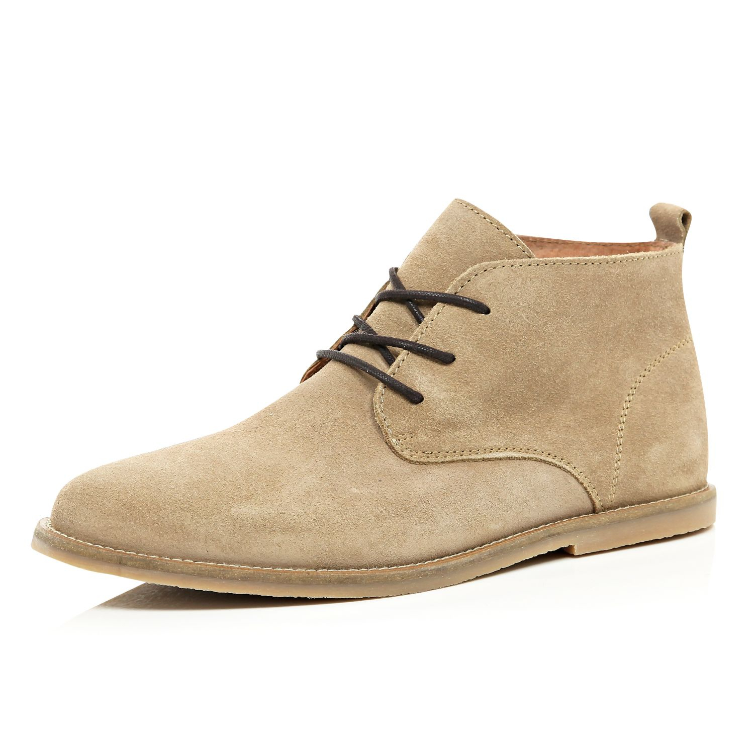 river island suede desert boots in beige for