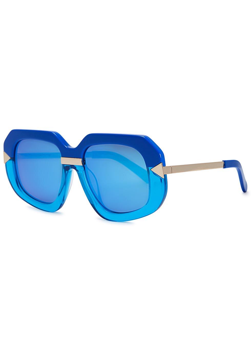 70b9c8c07553d Karen Walker Hollywood Creeper Blue Mirrored Sunglasses in Blue - Lyst