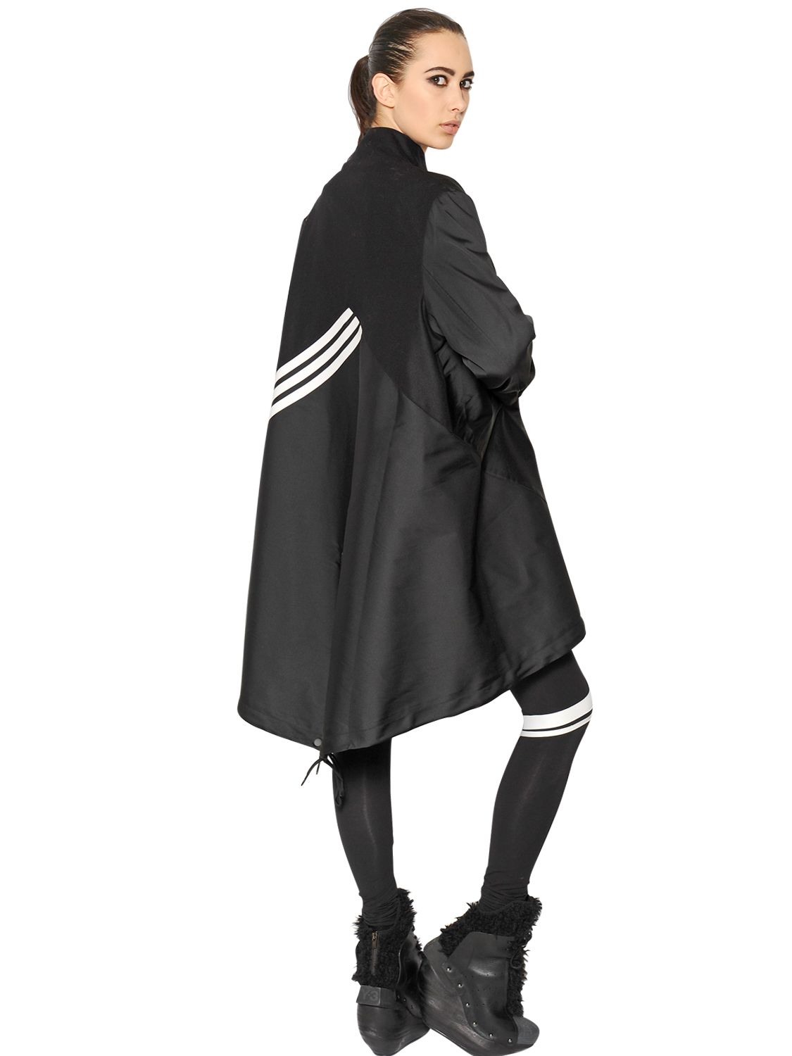 Lyst Y 3 Nylon Cape Style Coat In Black