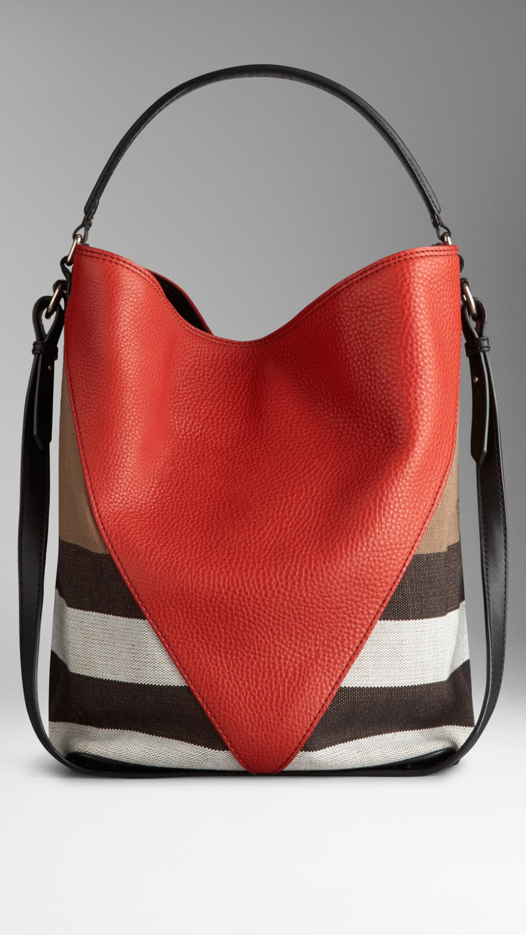 d2728ca5278 Burberry Medium Canvas Check Leather Chevron Hobo Bag in Red - Lyst