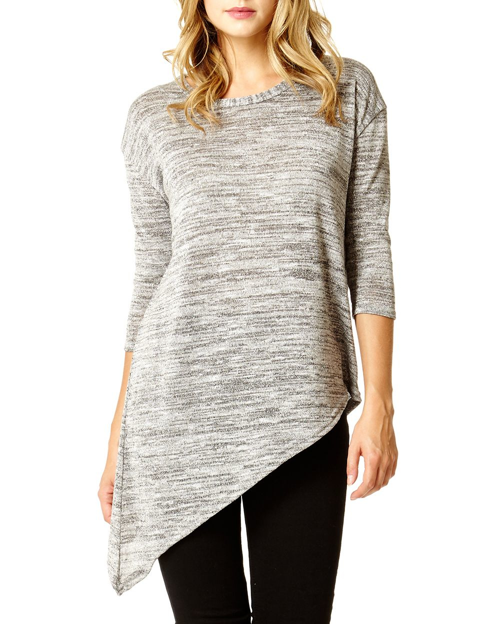 Knitting Quiz Uk : Lyst quiz grey silver knit top in gray