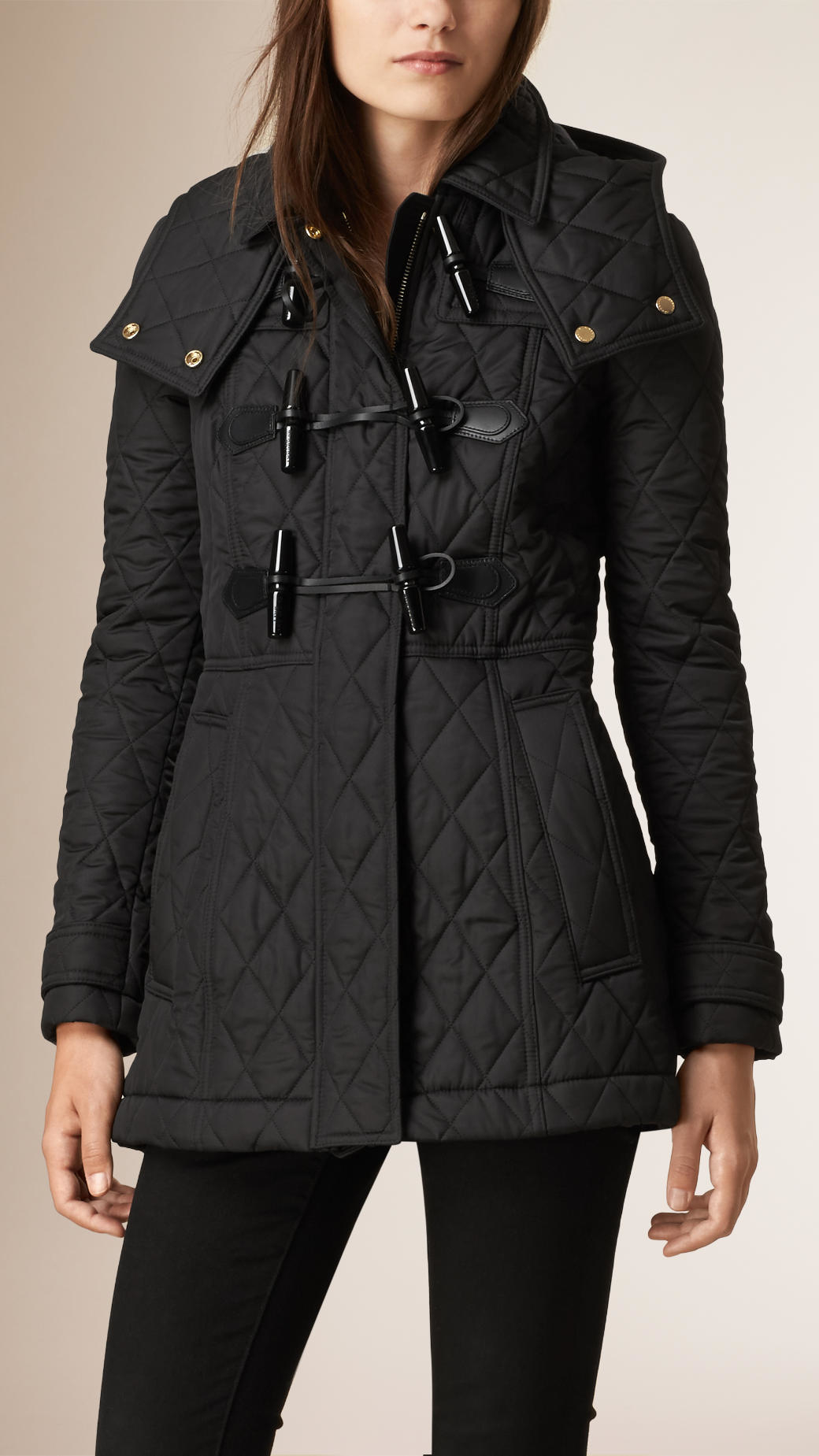 Burberry Diamond-Quilted Shell Duffle Coat in Black | Lyst