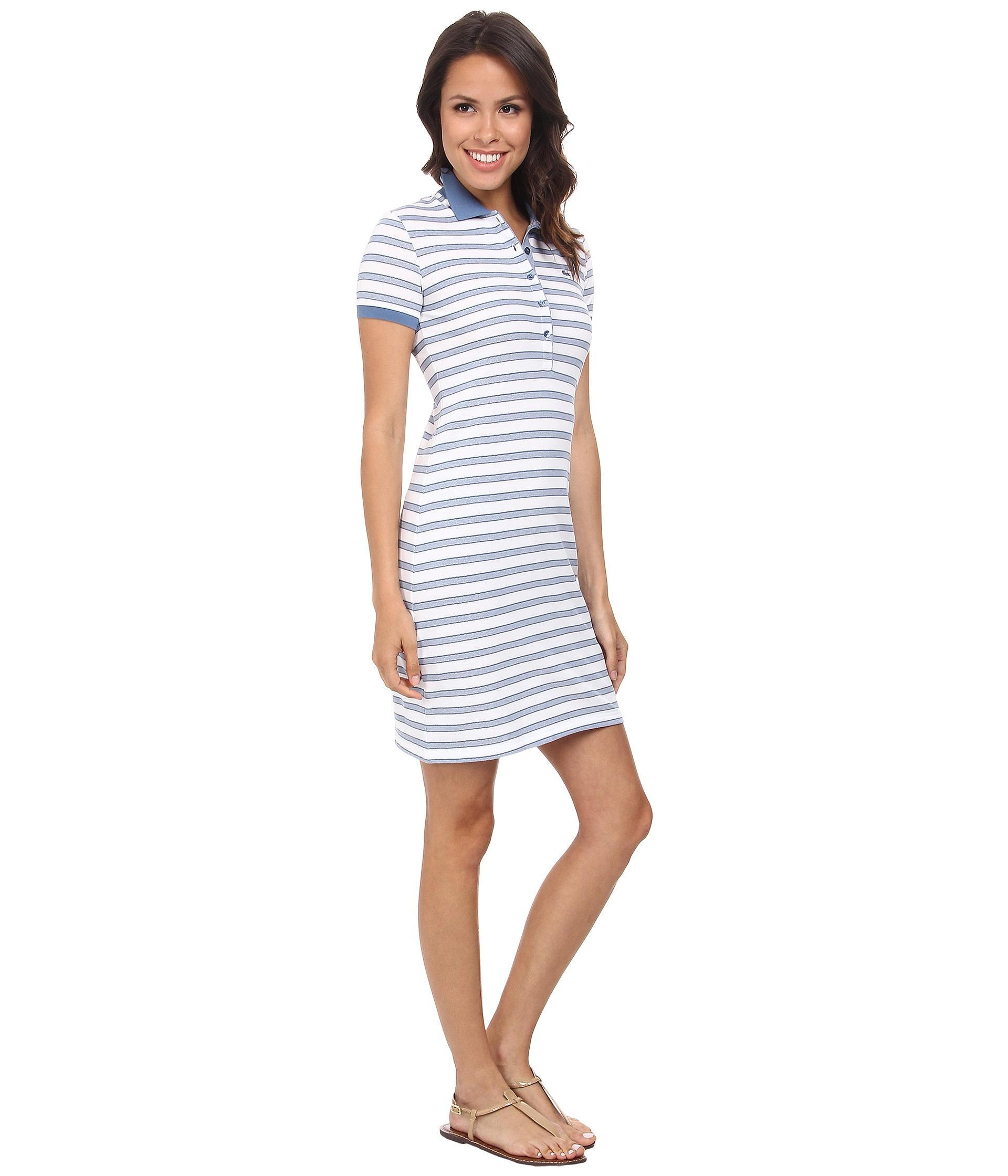 dc4b5e31d2954c Lyst - Lacoste Short Sleeve Stripe Pique Polo Dress in White