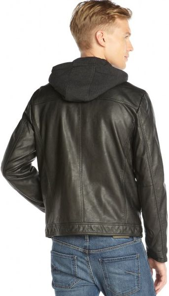 Kenneth Cole Reaction : black faux leather zip front motorcycle jacket