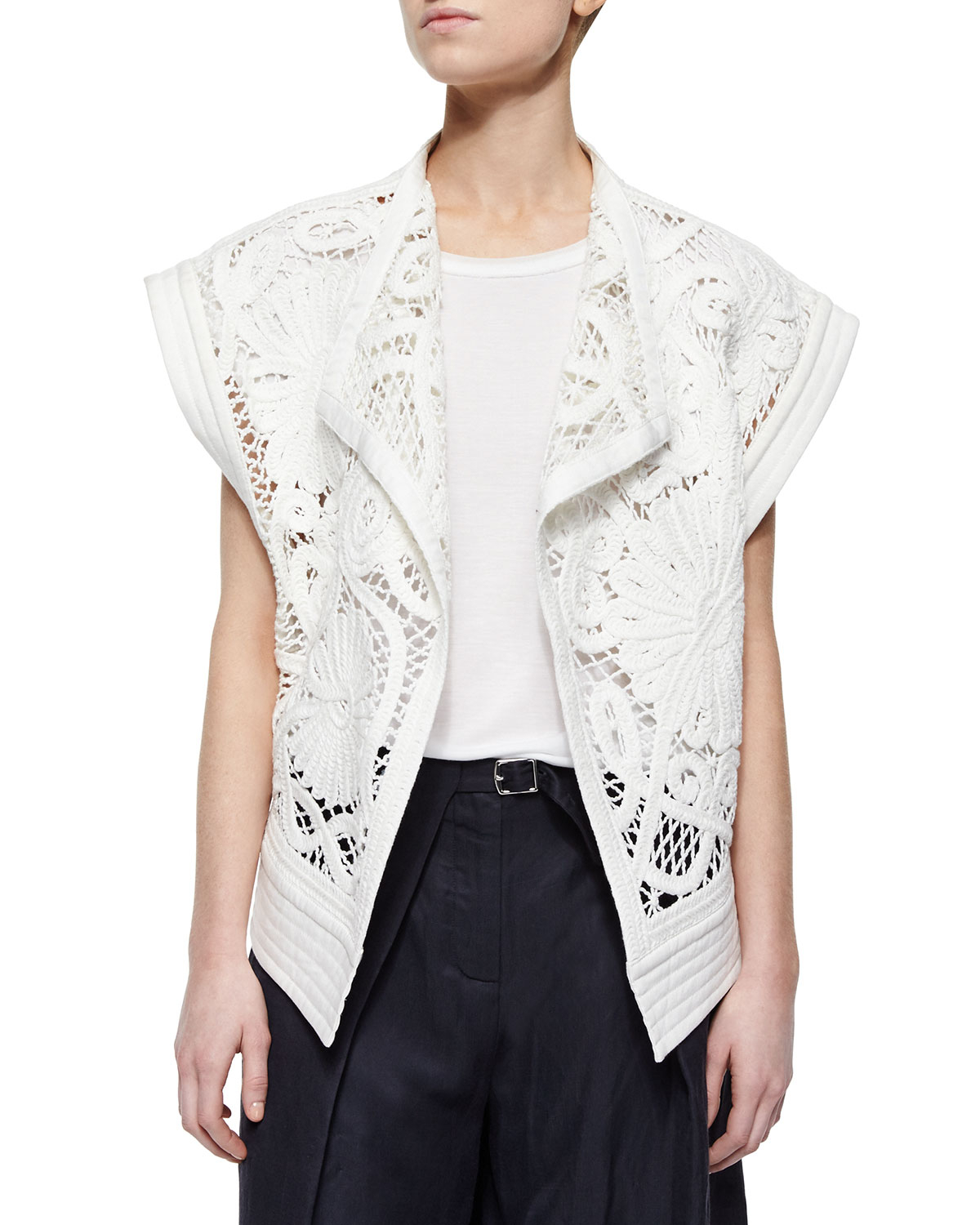 Crochet Stitch Jacket : Tibi Mateo Rib-trim Crochet Jacket in White (IVORY) Lyst
