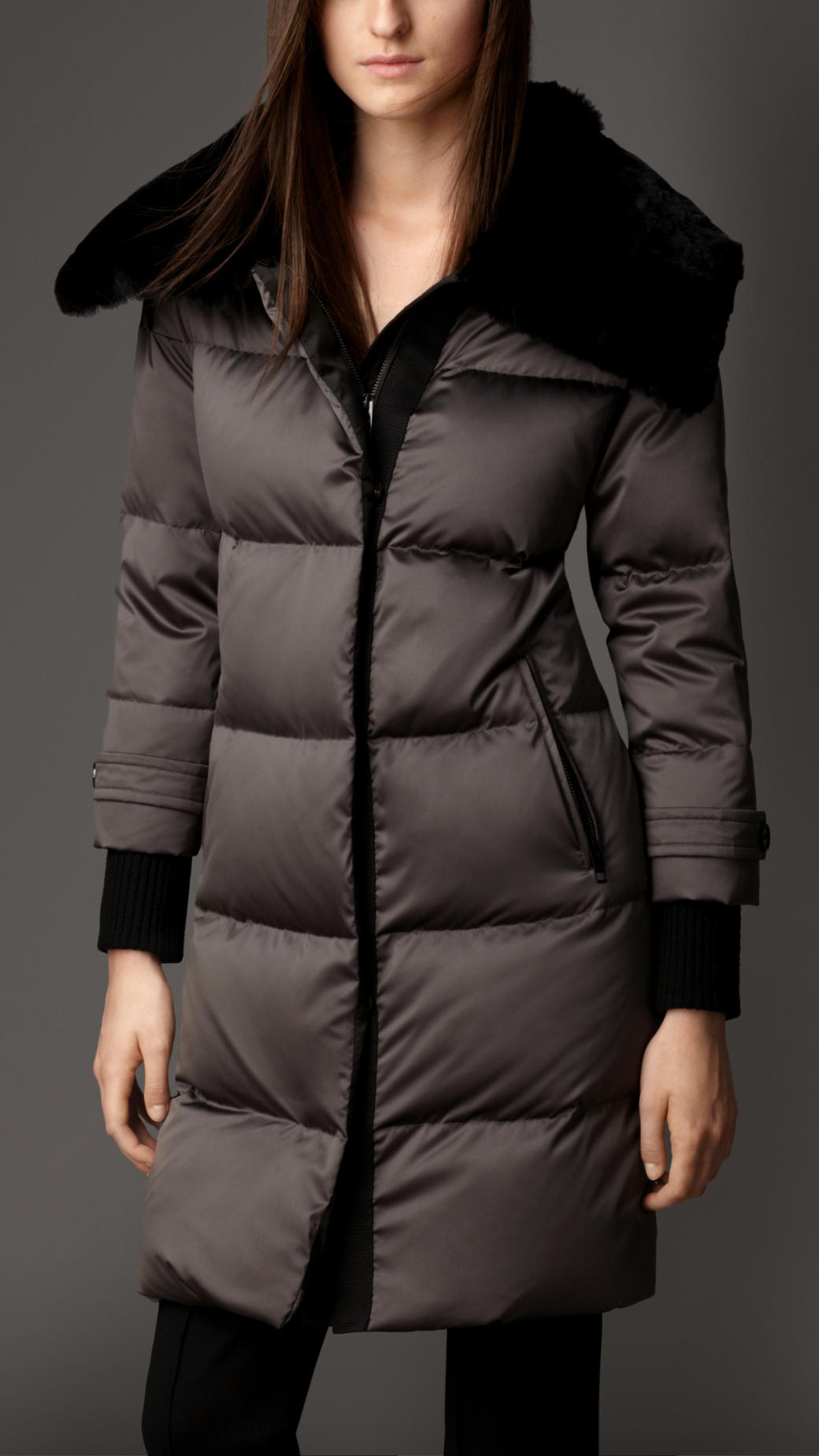Burberry Fur Collar Down-Filled Puffer Coat in Gray | Lyst