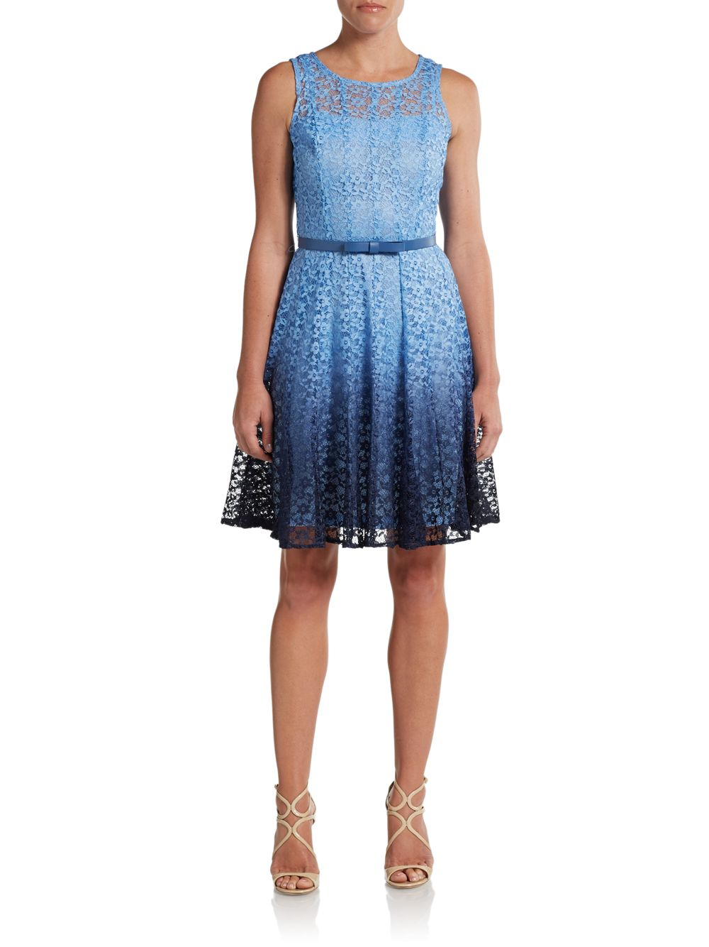 chetta b dip dyed belted lace dress in blue lyst