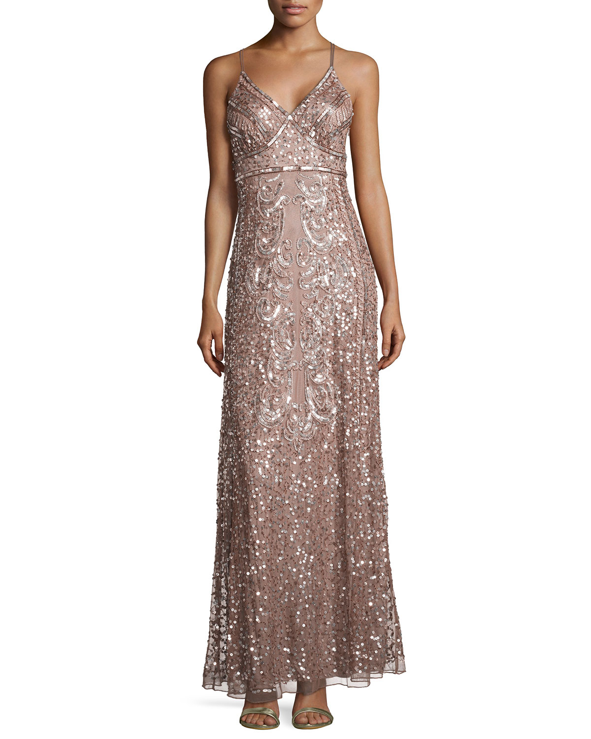 Lyst - Marina Sequin-embellished Mesh Gown in Pink