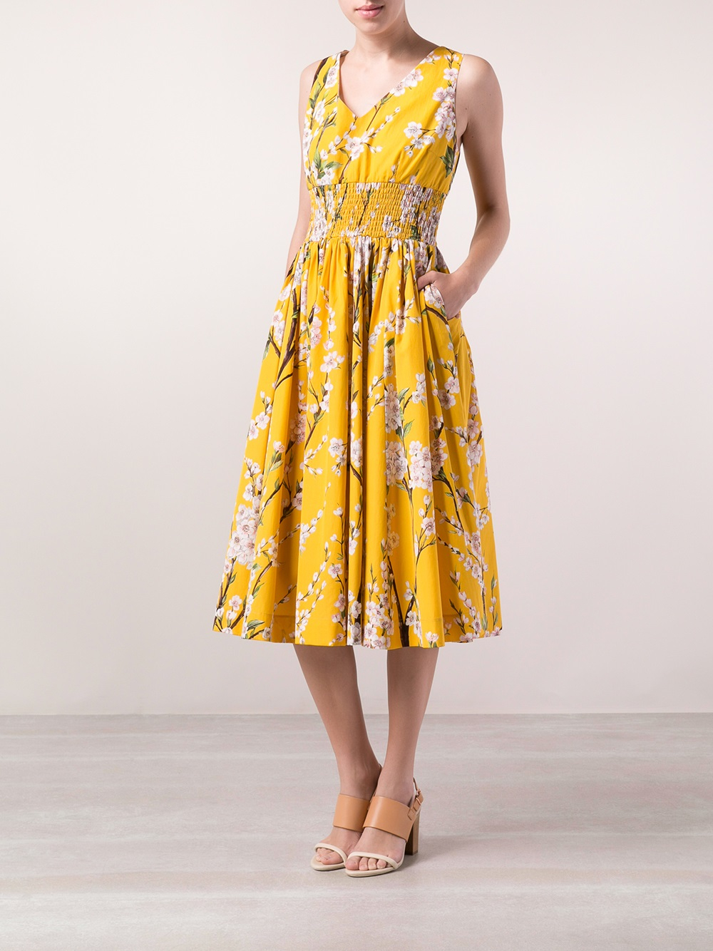 Lyst Dolce Amp Gabbana Floral Branch Dress In Yellow