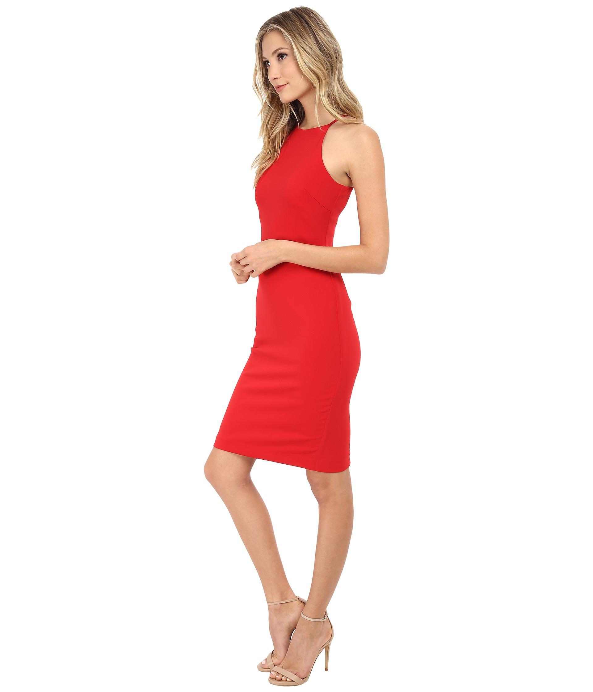 Lyst - Badgley Mischka Stretch Crepe Halter Cocktail Dress in Red