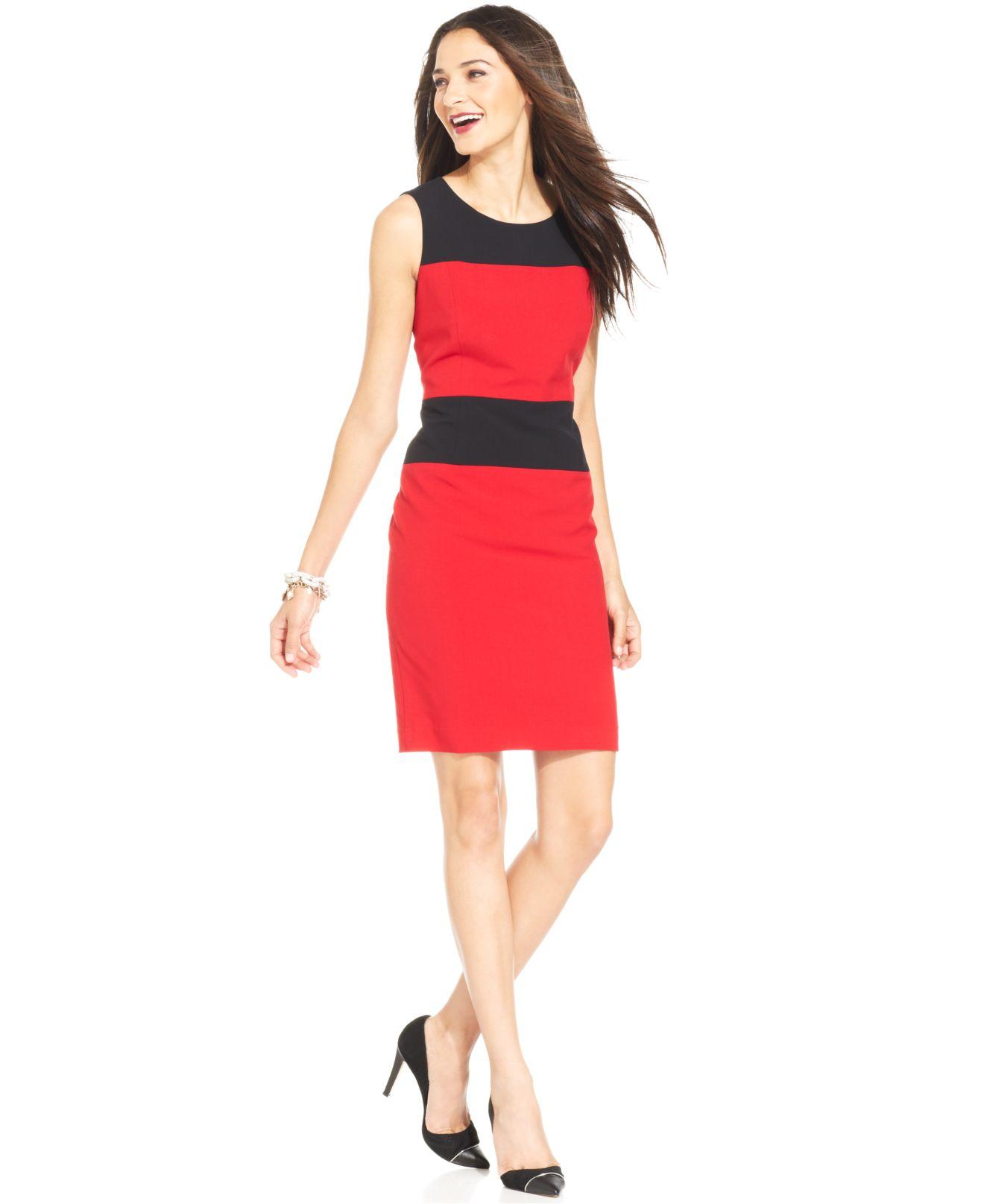 eddefffd Nine West Sleeveless Colorblock Sheath Dress in Red - Lyst