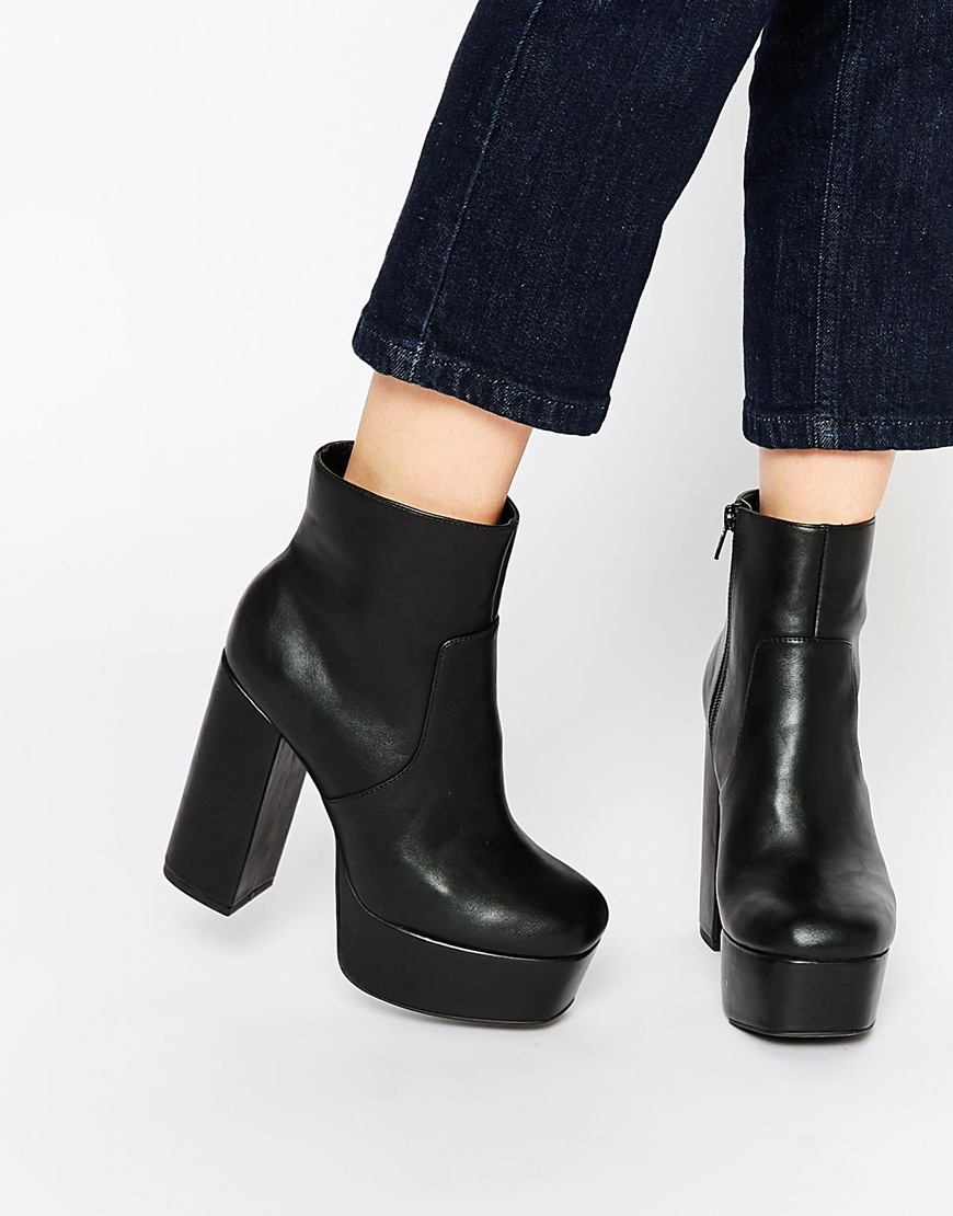 Lyst - Faith Sapphire Black Platform Heeled Boots in Black