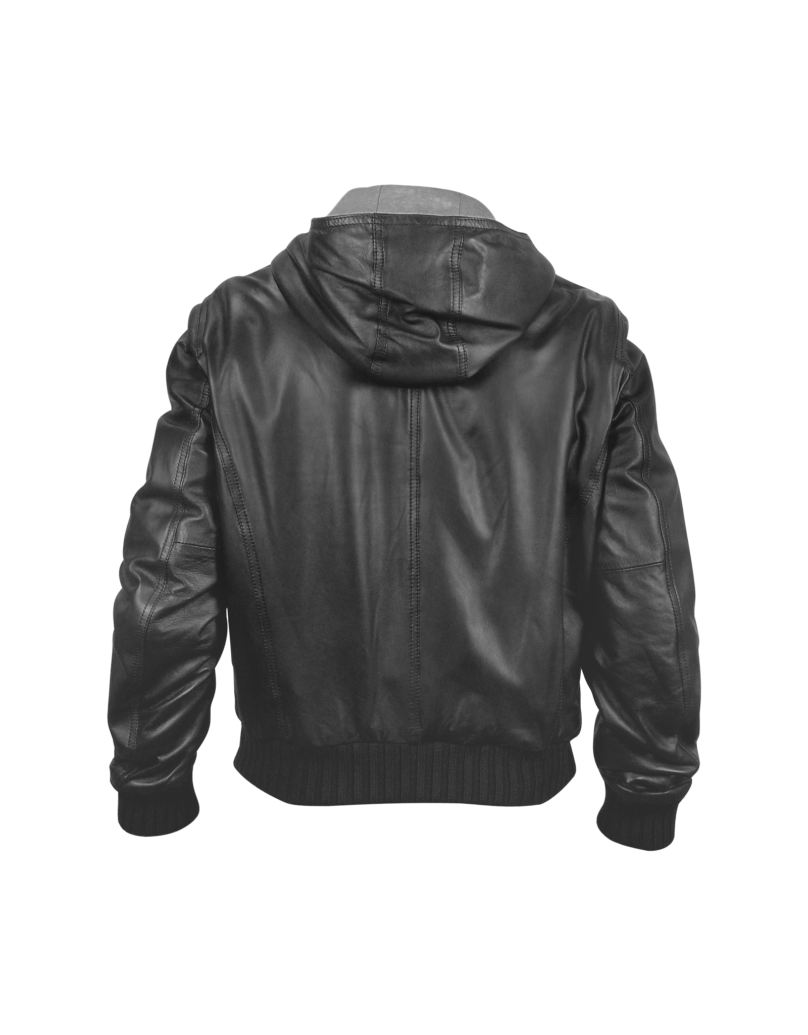 Forzieri Men's Black Leather Hooded Jacket in Black for Men | Lyst