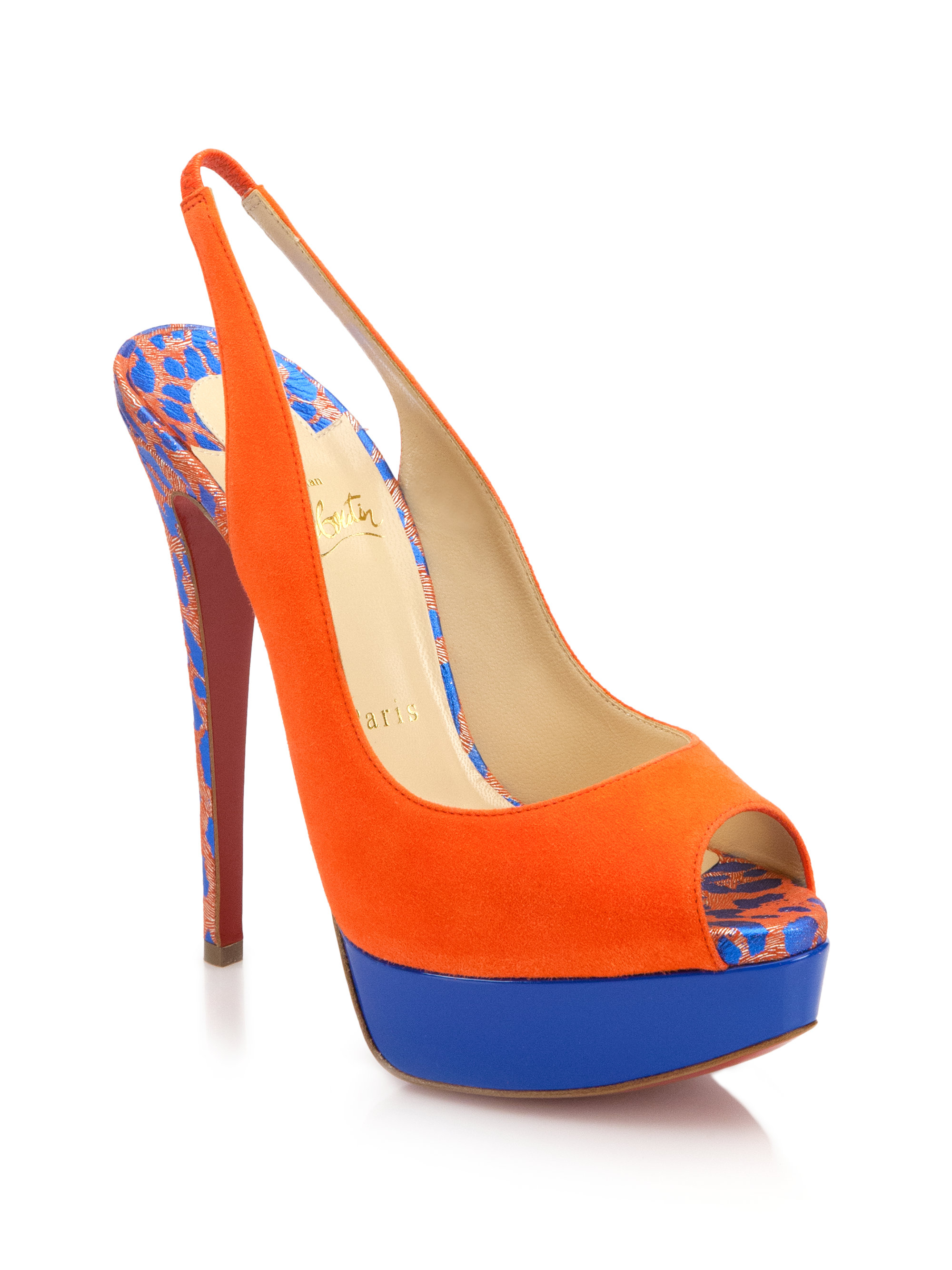 cheap replica christian louboutins - Christian louboutin Colorblock Suede Peep-Toe Slingback Pumps in ...