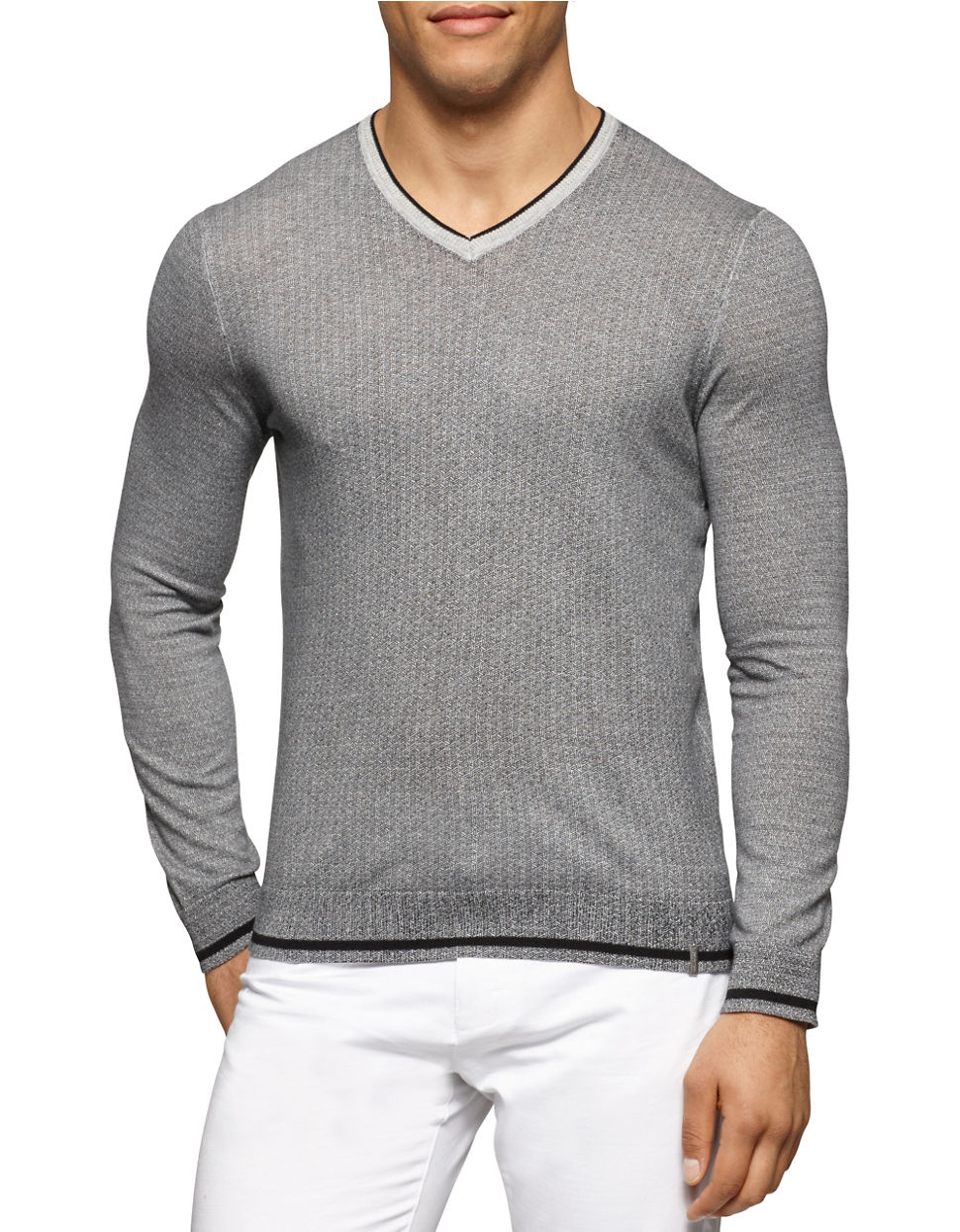 calvin klein ribbed v neck pullover in gray for men lyst. Black Bedroom Furniture Sets. Home Design Ideas