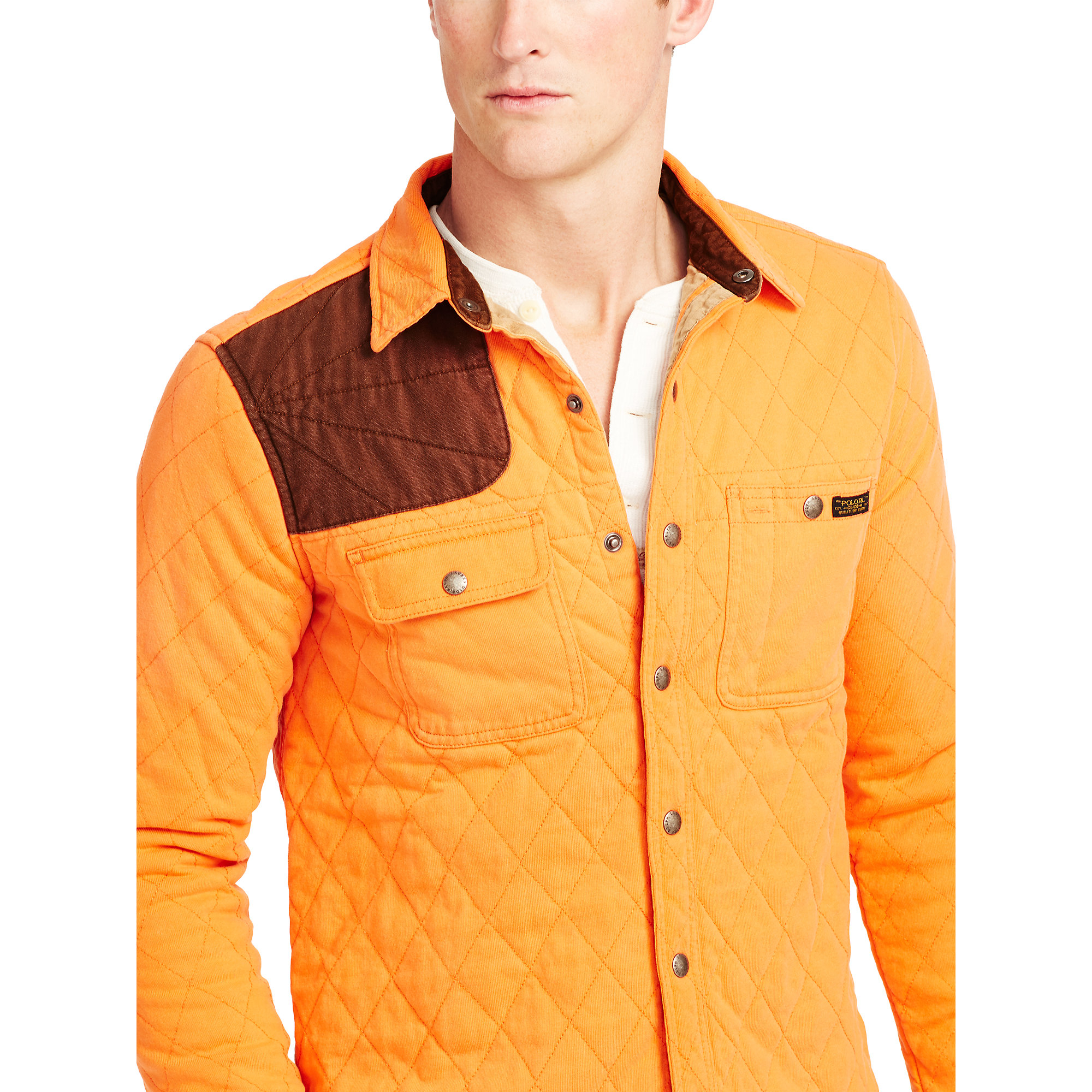 Polo ralph lauren quilted utility shirt jacket in orange for Polo shirt with jacket