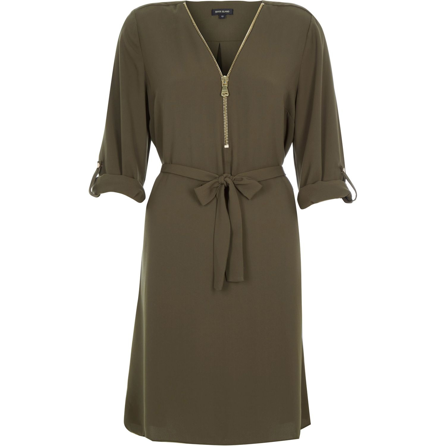 River island khaki zip up shirt dress in khaki lyst for Zip up dress shirt