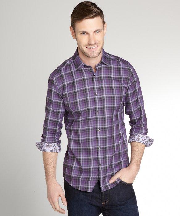 Lyst stone rose purple plaid cotton button front shirt for Purple plaid button up shirt