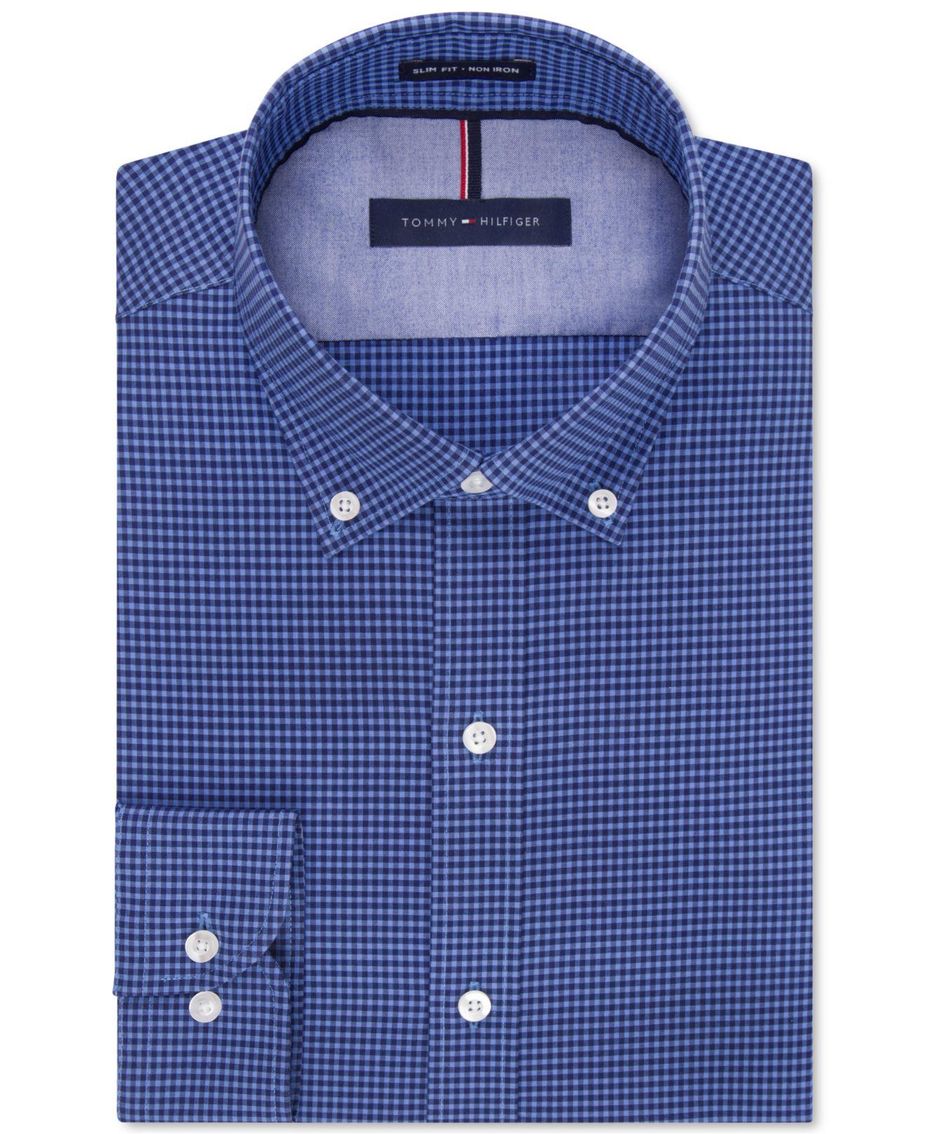 Tommy hilfiger slim fit non iron soft wash blue multi for Tommy hilfiger gingham dress shirt