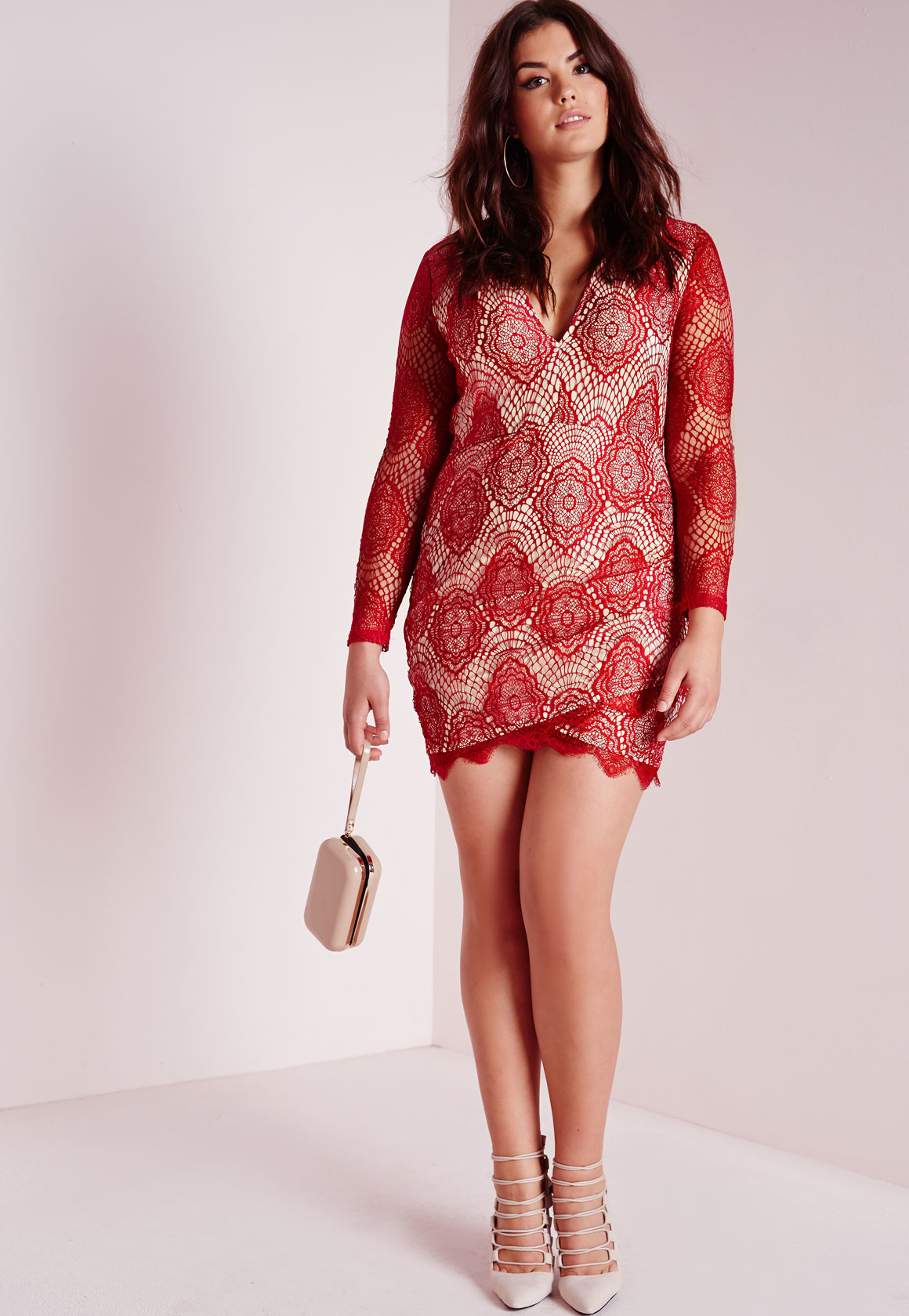 Missguided Plus Size Lace Plunge Dress Red in Red | Lyst