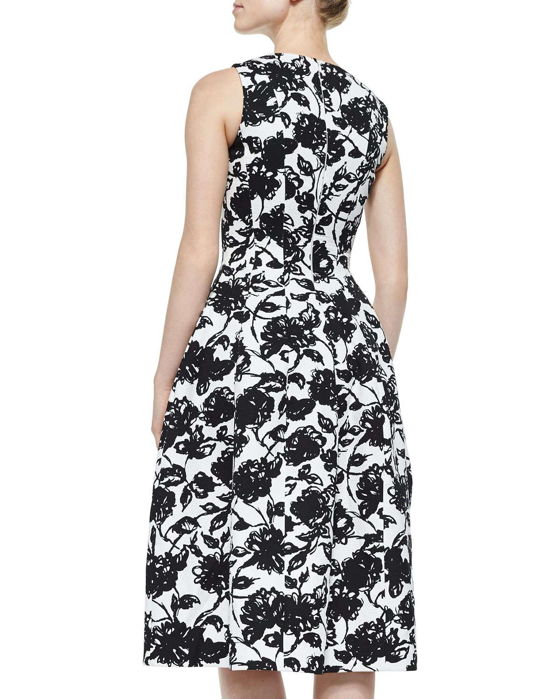 michael kors floral print bell skirt midi dress in black
