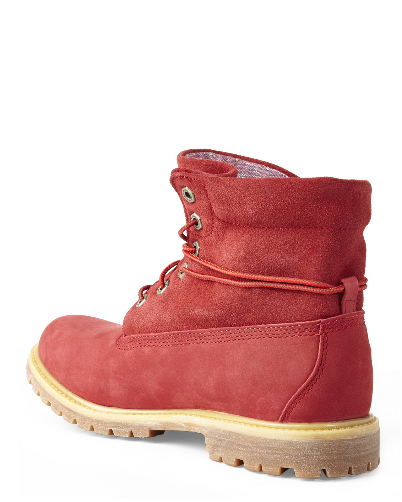Timberland Red Authentics Roll-Down Boots in Red   Lyst