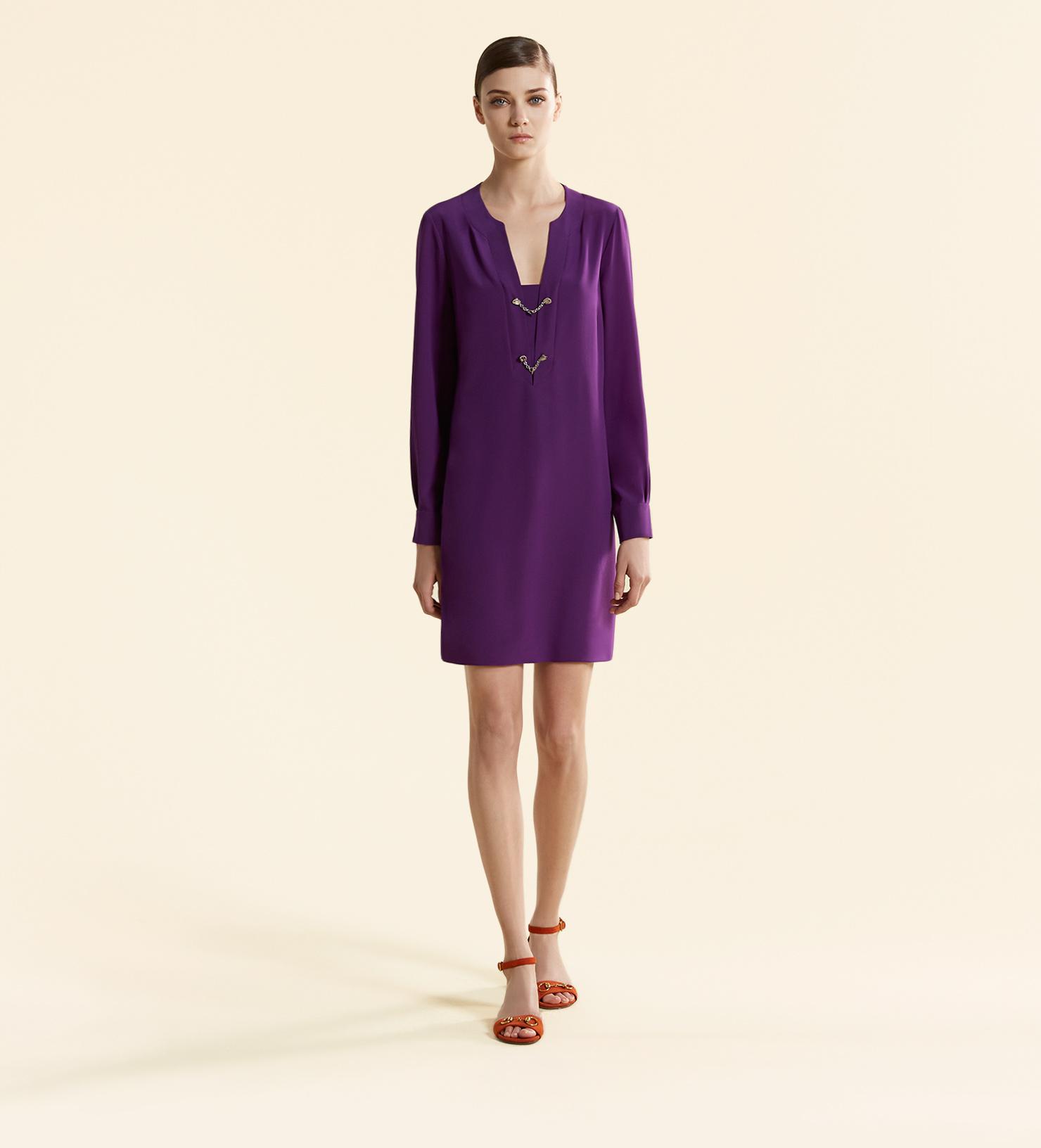 Gucci Silk Crêpe De Chine Long Sleeve Dress in Purple - Lyst