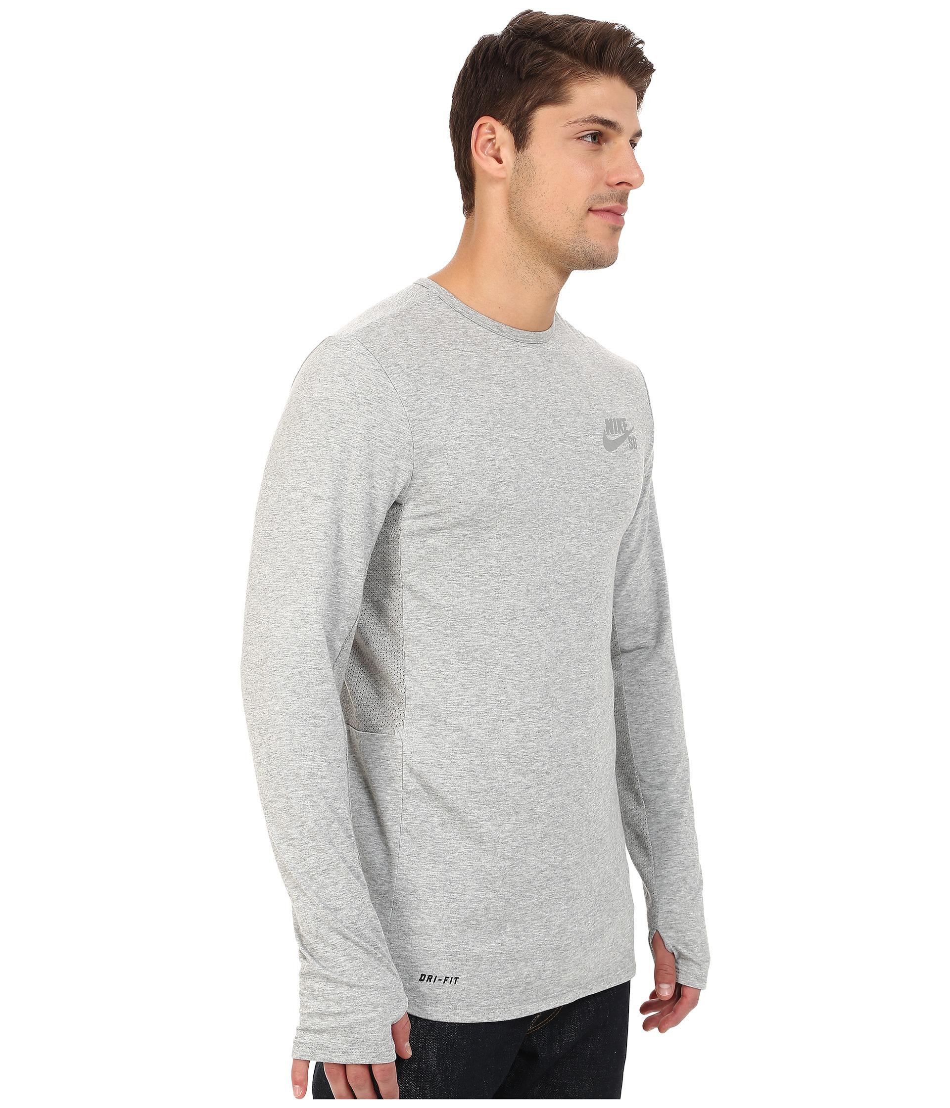 5ca664d28130 Lyst - Nike Sb Skyline Dri-fit™ Cool Long Sleeve Crew in Gray for Men