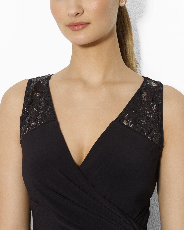 045debedd99 Ralph Lauren Lauren Gown V Neck Sequin Lace Inset Jersey in Black - Lyst