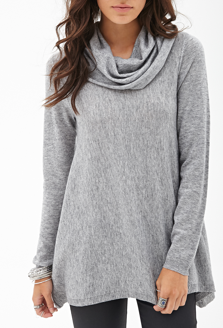 Free Knitting Pattern For Ladies Cowl Neck Sweater : Forever 21 Cowl Neck Knit Sweater in Gray (Heather grey) Lyst
