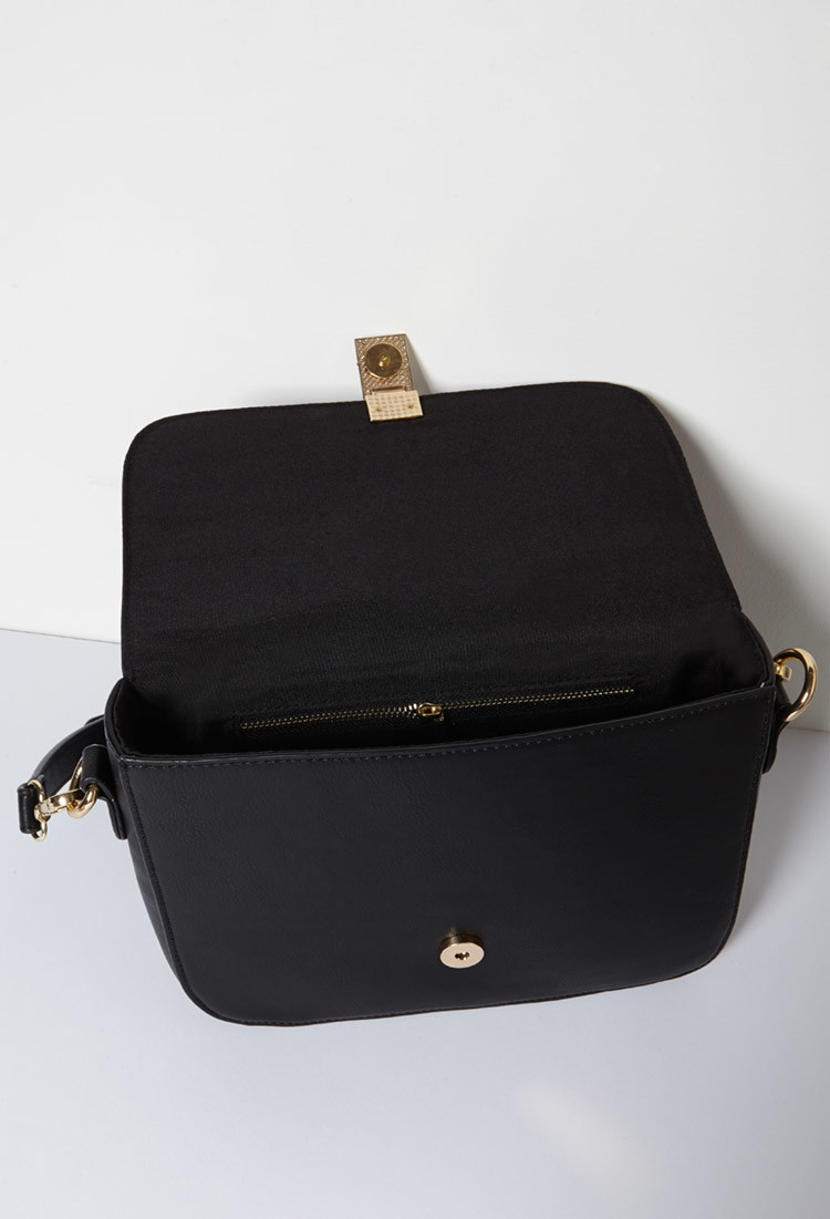 Forever 21 Structured Faux Leather Crossbody in Black - Lyst bf947e4ddb447