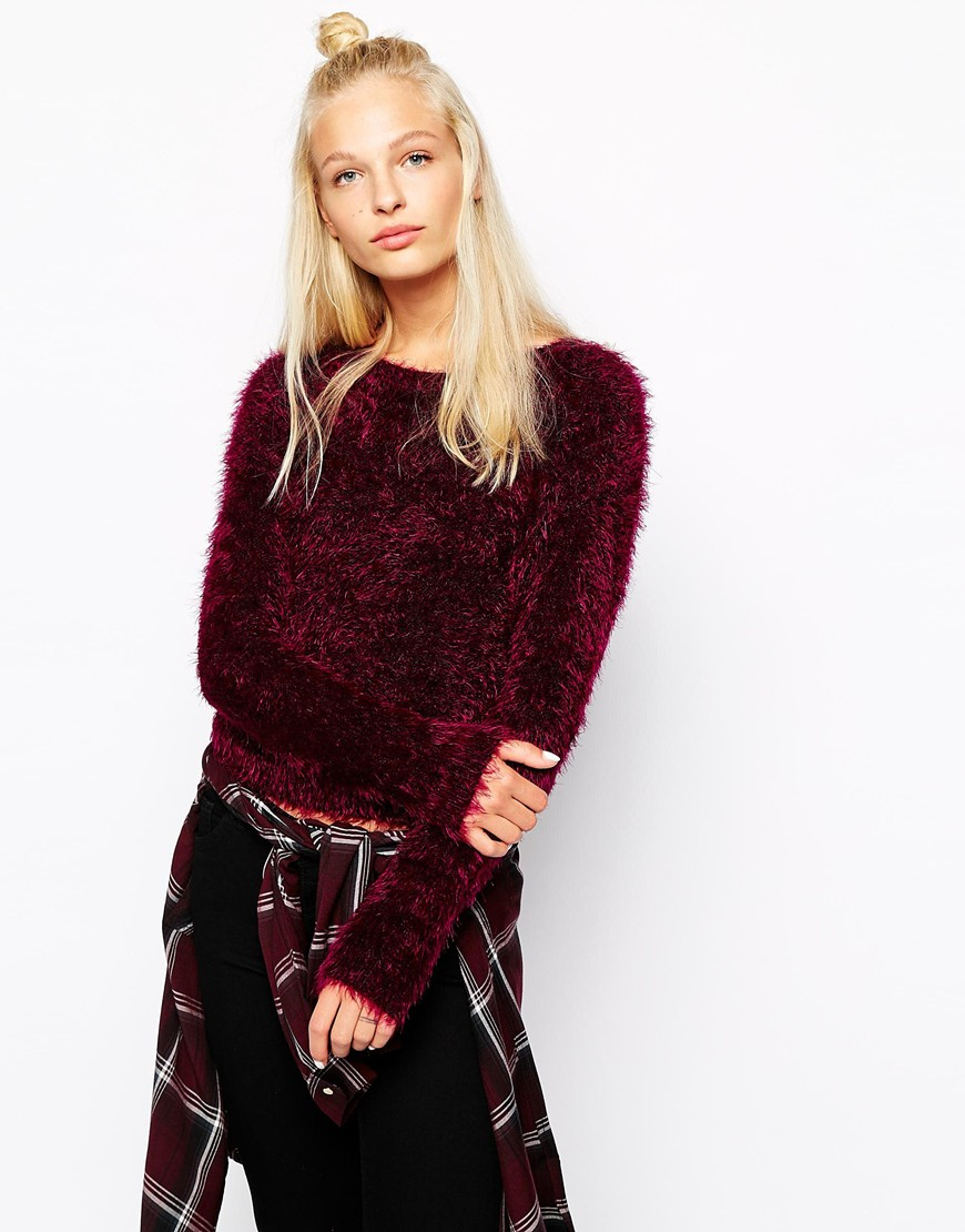 Monki Cropped Fluffy Sweater in Red | Lyst