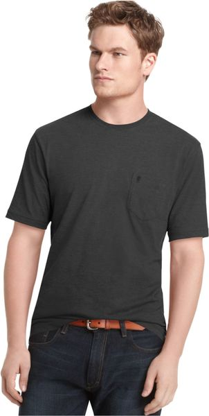 Izod big and tall solid pocket t shirt in black for men lyst for Izod big and tall essential solid shirt
