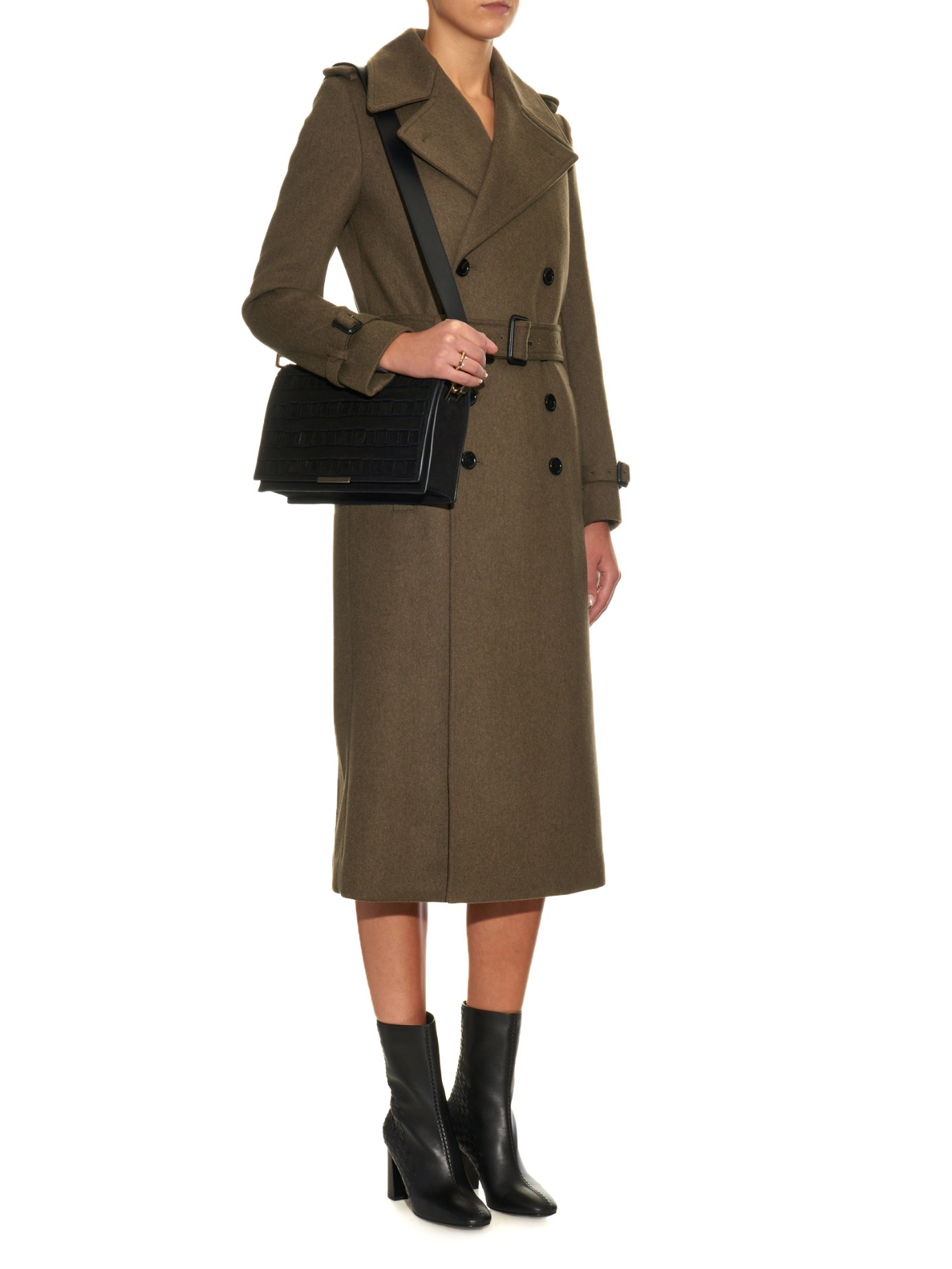 Joseph Military Tweed Trench Coat in Natural | Lyst