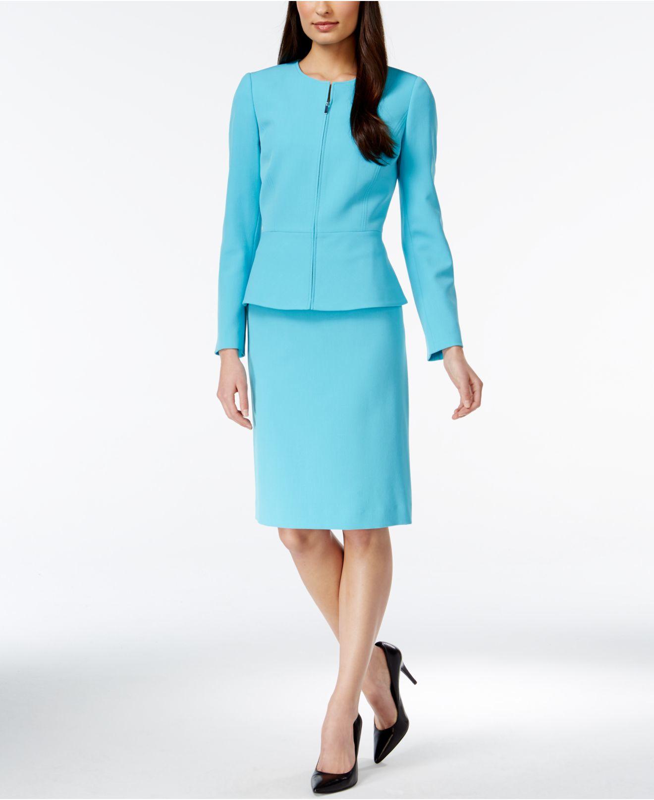 tahari crepe peplum skirt suit in blue lyst