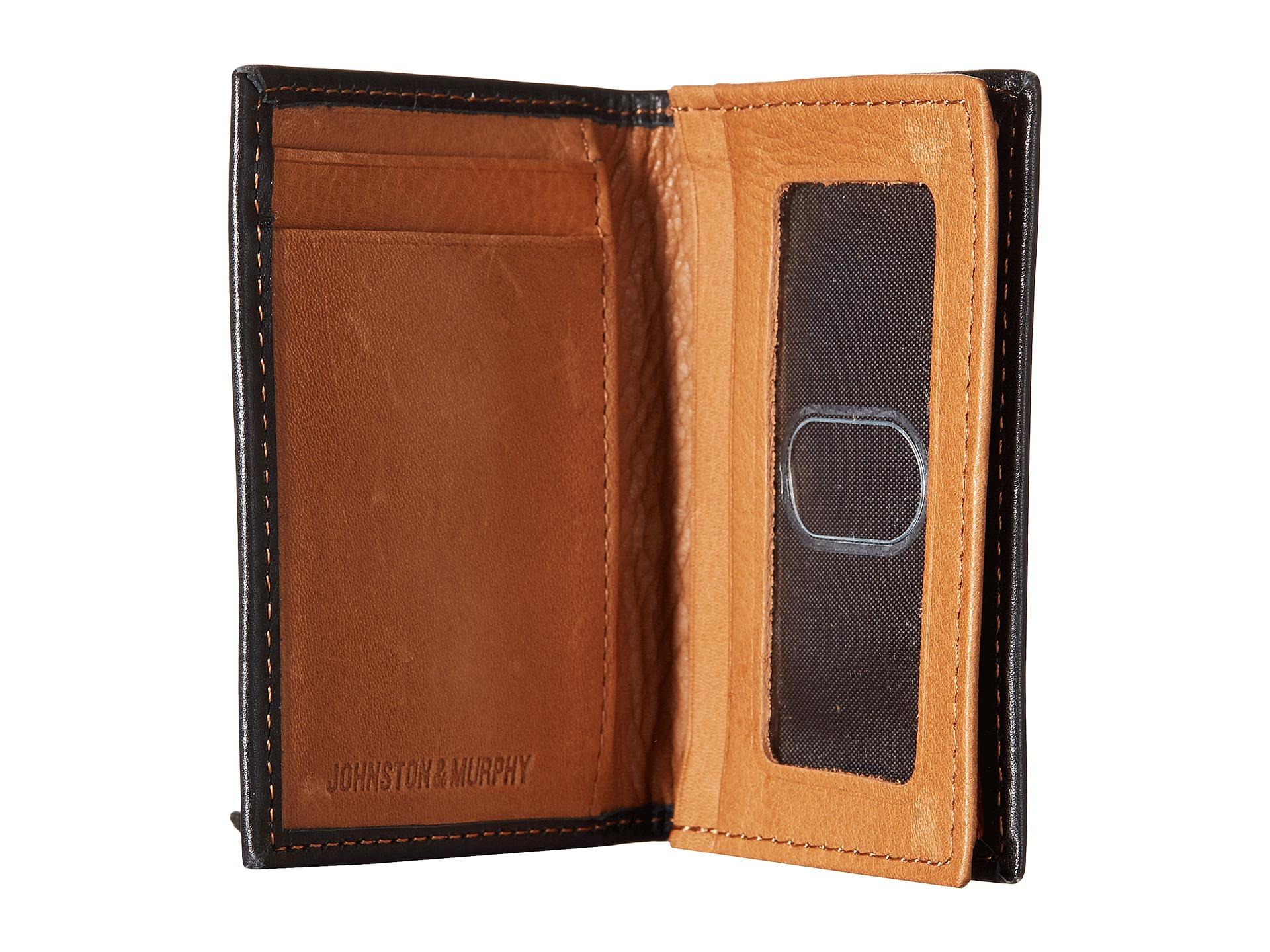 c2fad23b4af Lyst - Johnston   Murphy Gusset Card Case in Black for Men