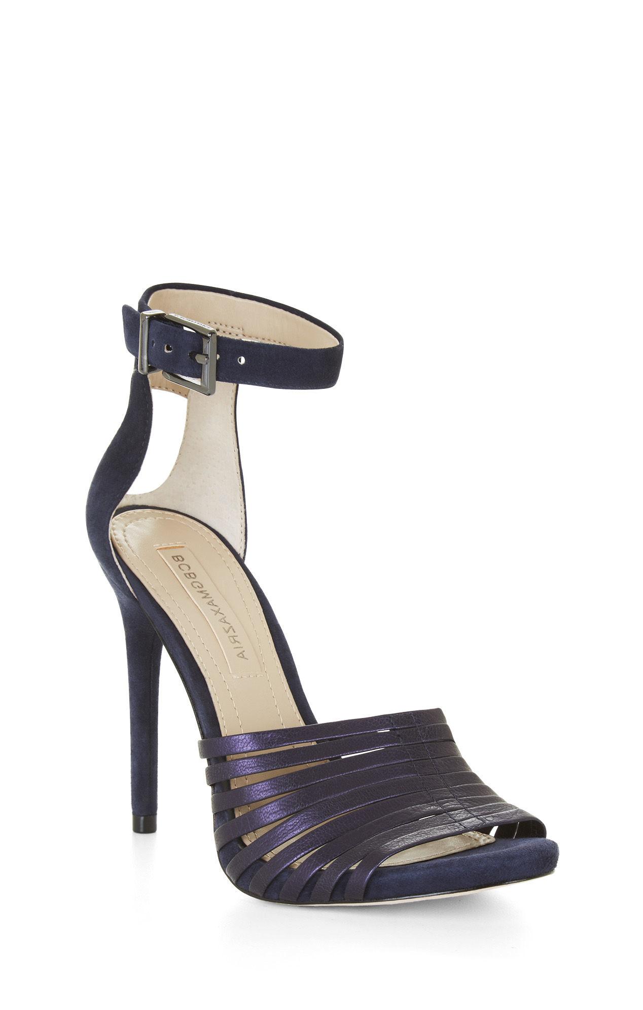Navy Blue Strappy High Heel Sandals