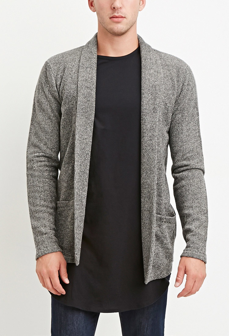 Forever 21 Open-front Marled Cardigan in Gray for Men | Lyst