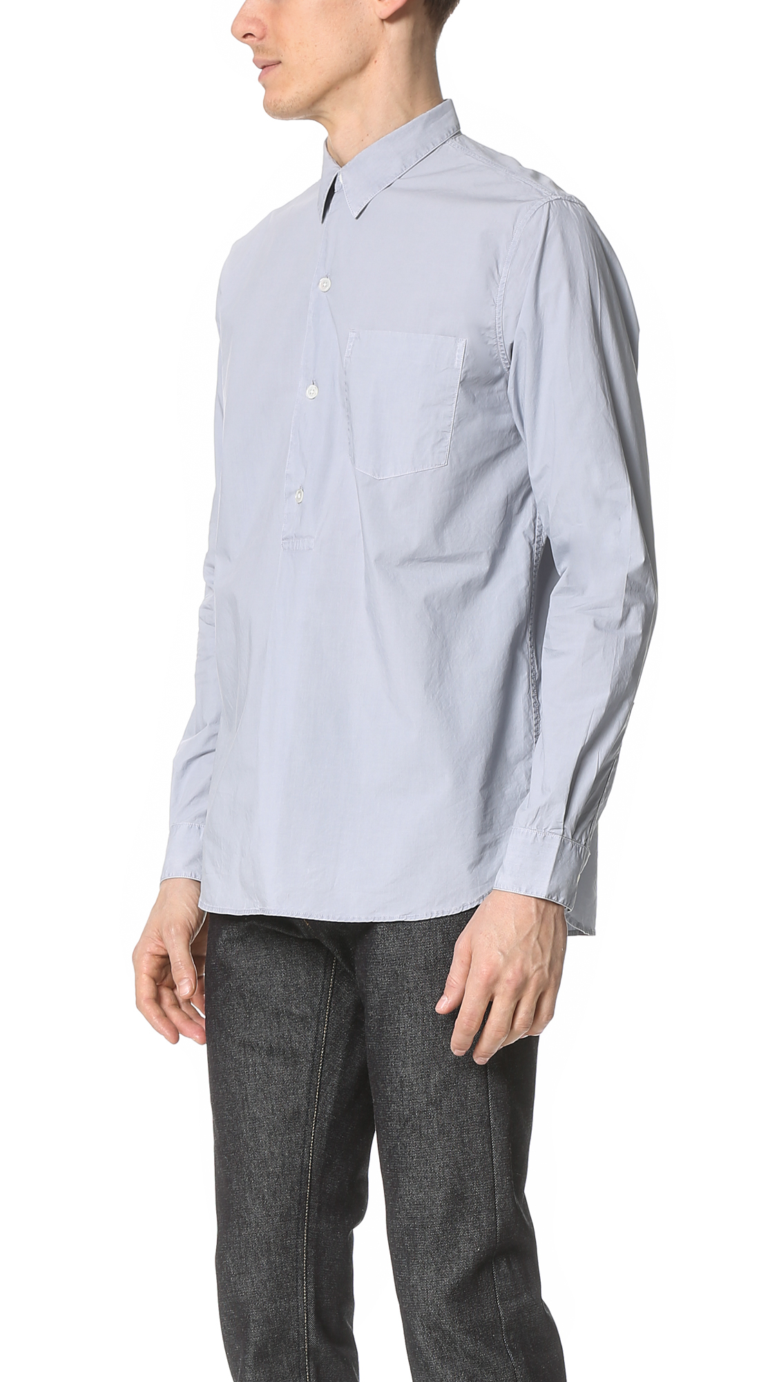 Our legacy Fine Poplin Overshirt in Blue for Men