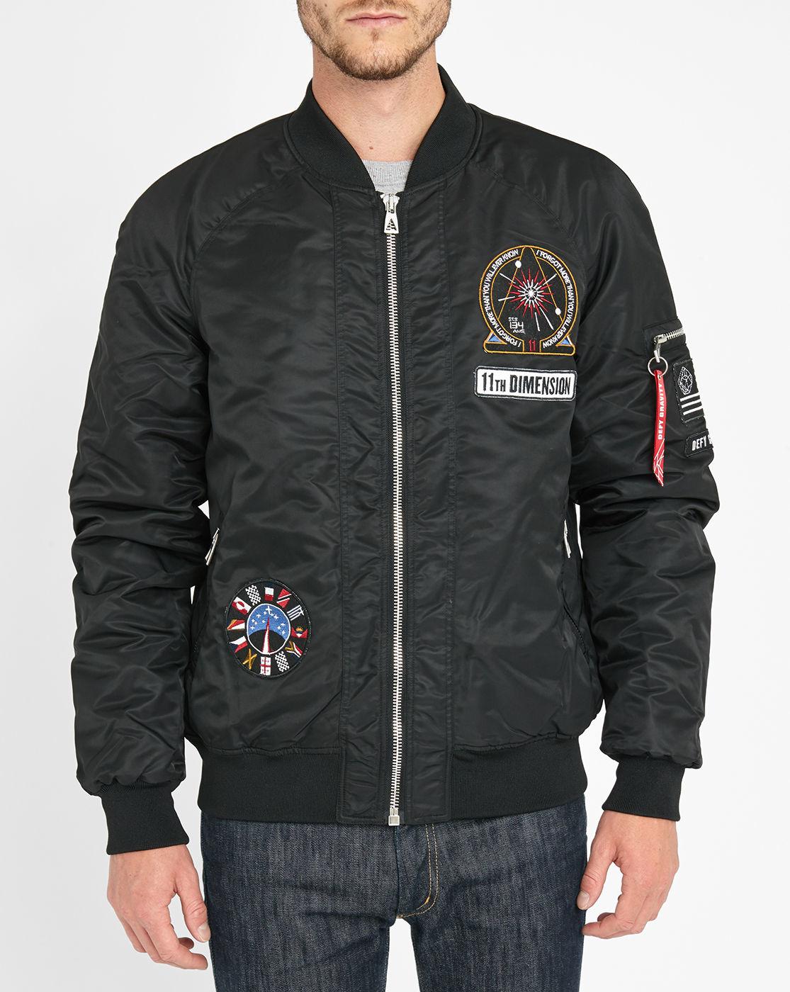 eleven paris patch detail satin bomber jacket in black for men lyst. Black Bedroom Furniture Sets. Home Design Ideas